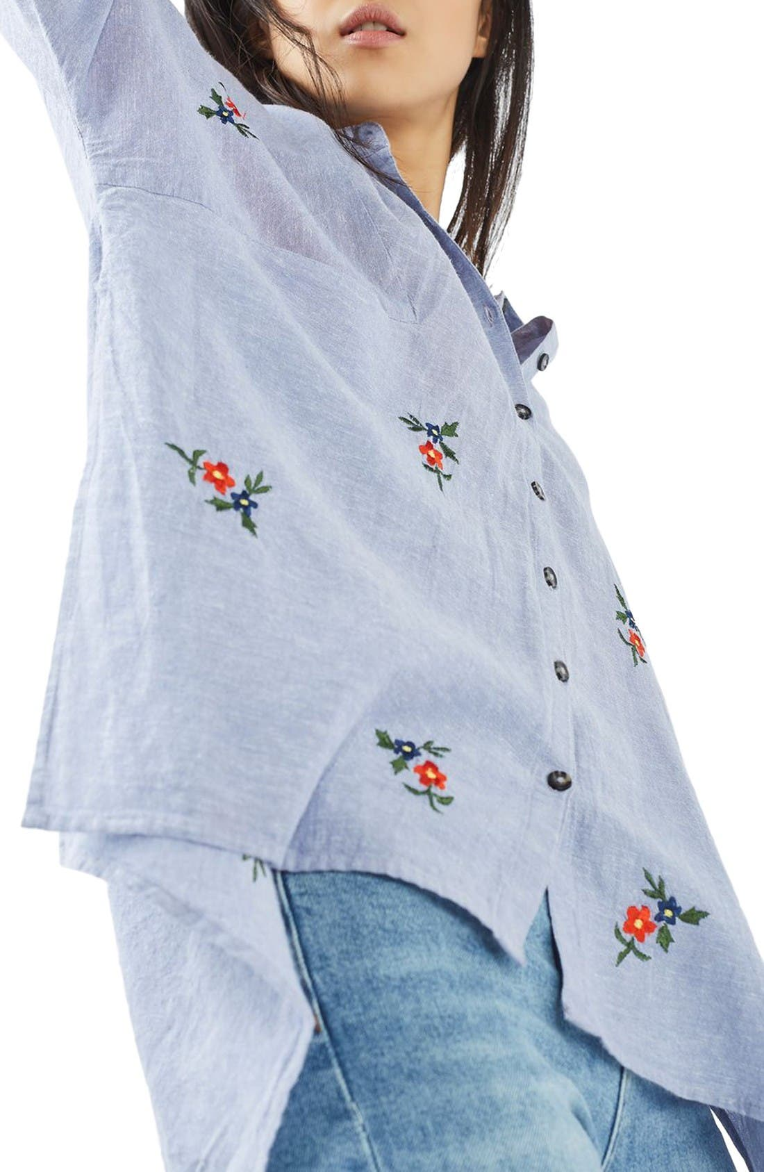 Embroidered Shirt,                             Alternate thumbnail 5, color,                             Blue Multi