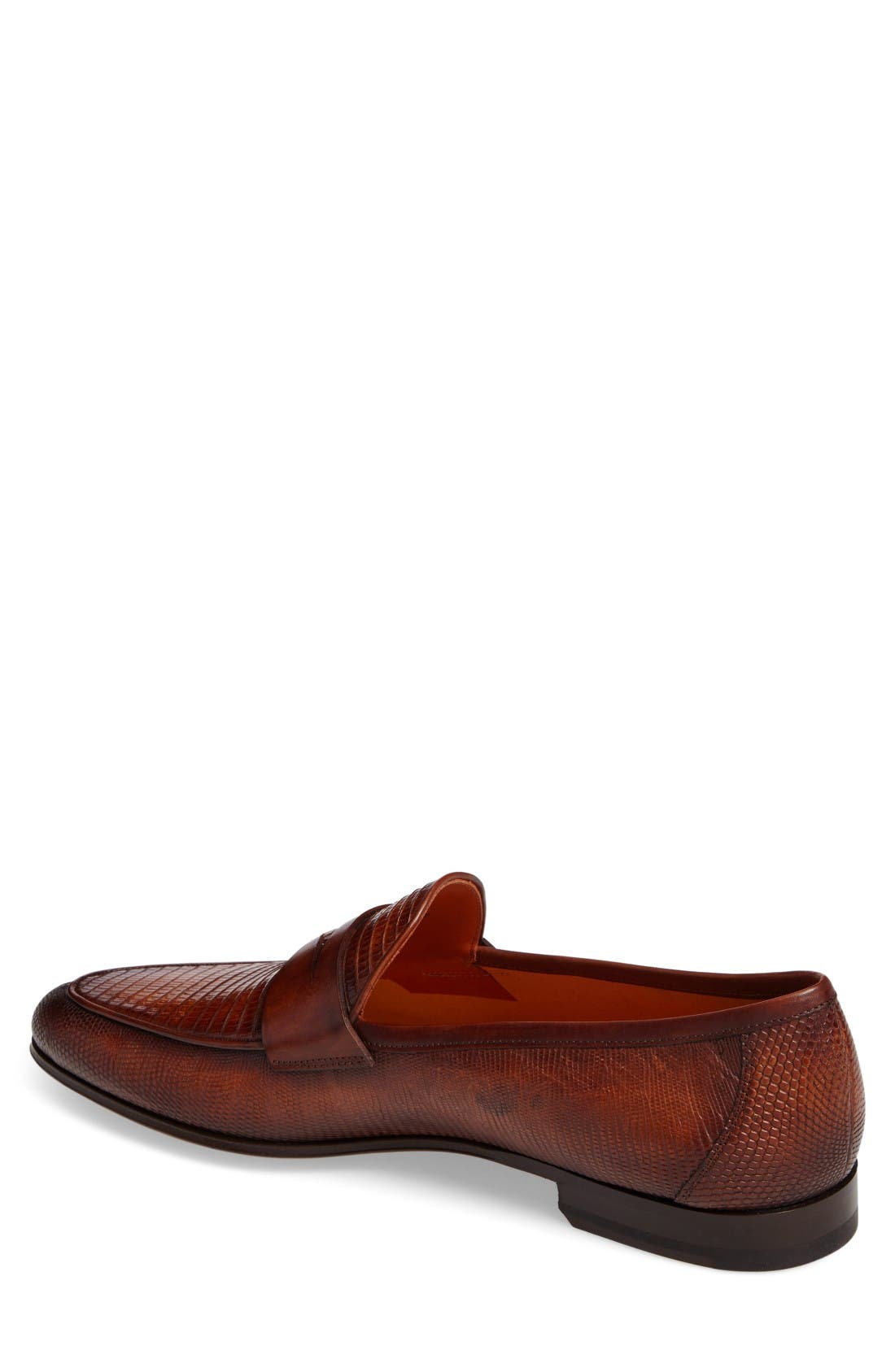 'Camerino' Lizard Penny Loafer,                             Alternate thumbnail 2, color,                             Cognac