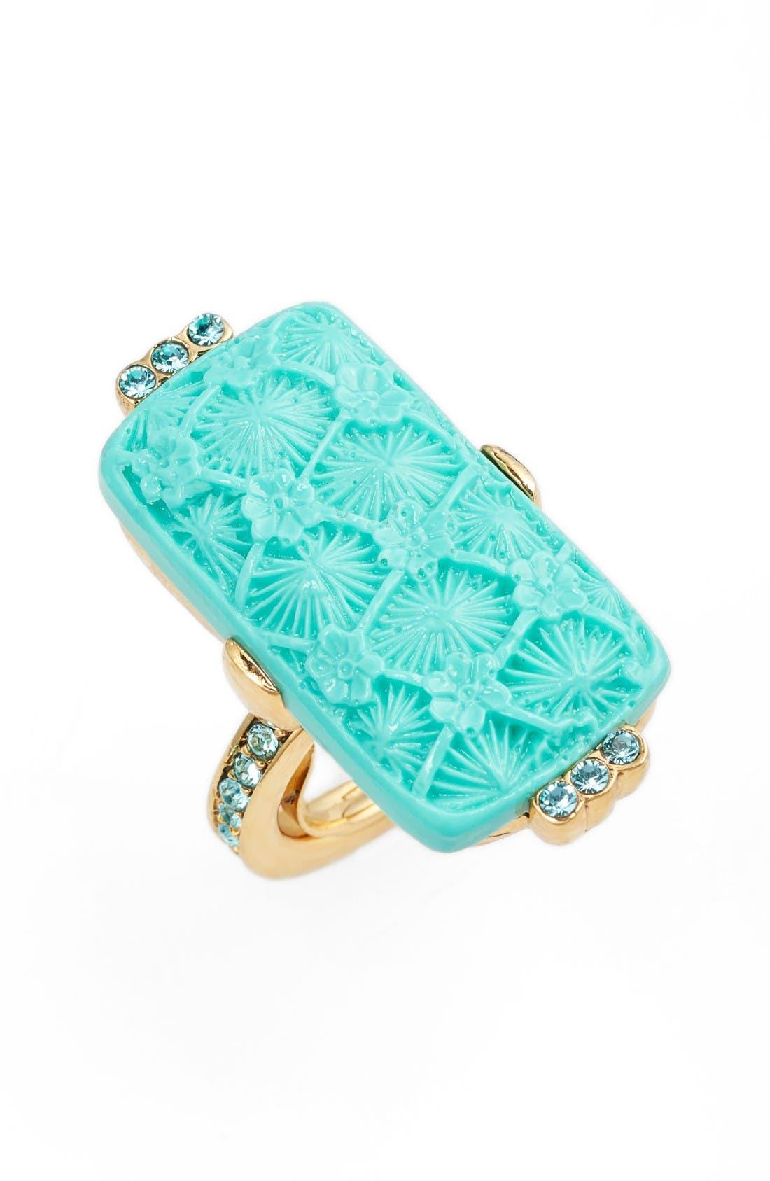 Alternate Image 1 Selected - Oscar de la Renta Carved Resin & Swarovski Crystal Ring