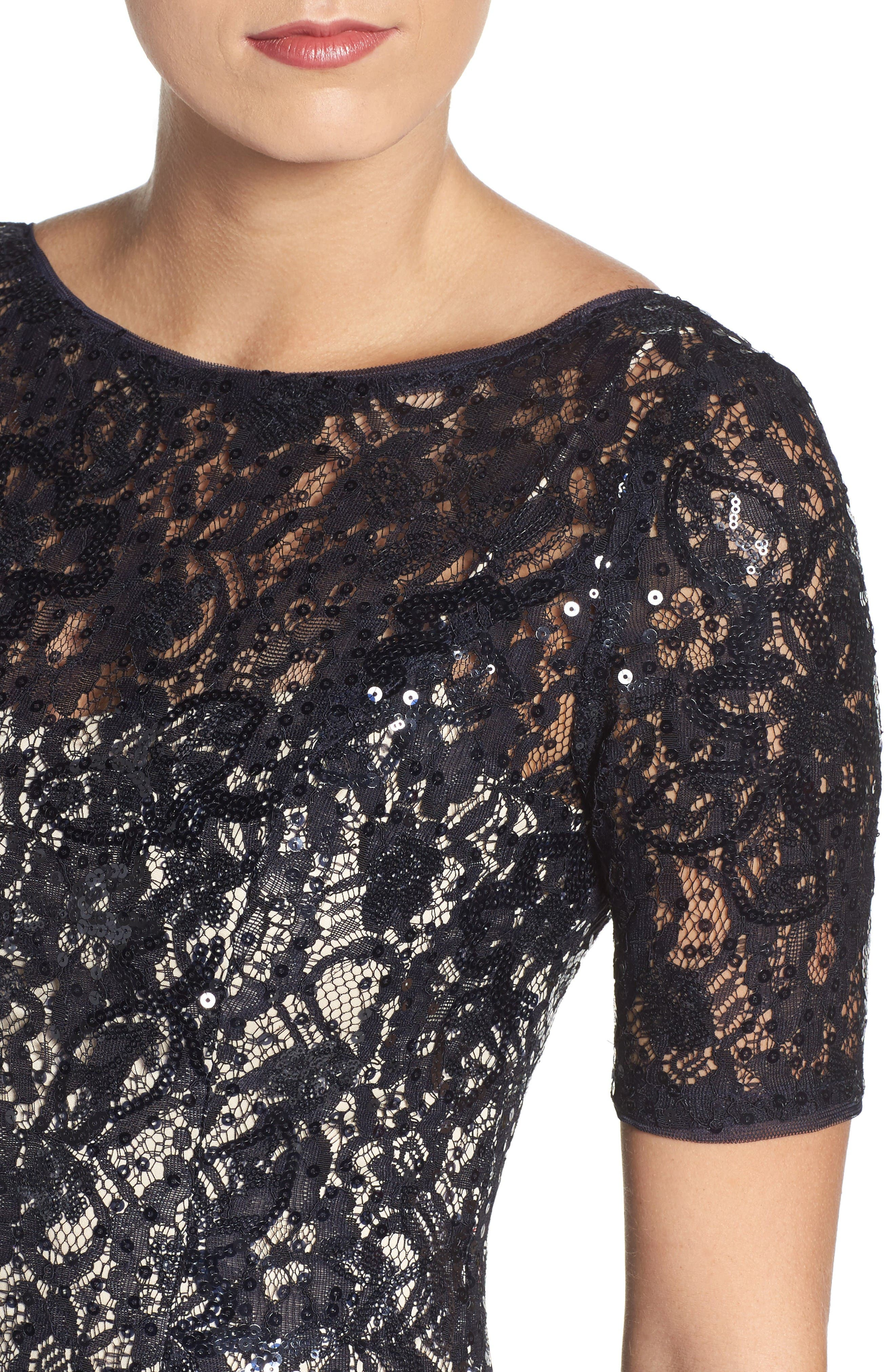 Sequin Lace Gown,                             Alternate thumbnail 4, color,                             Midnight/ Nude