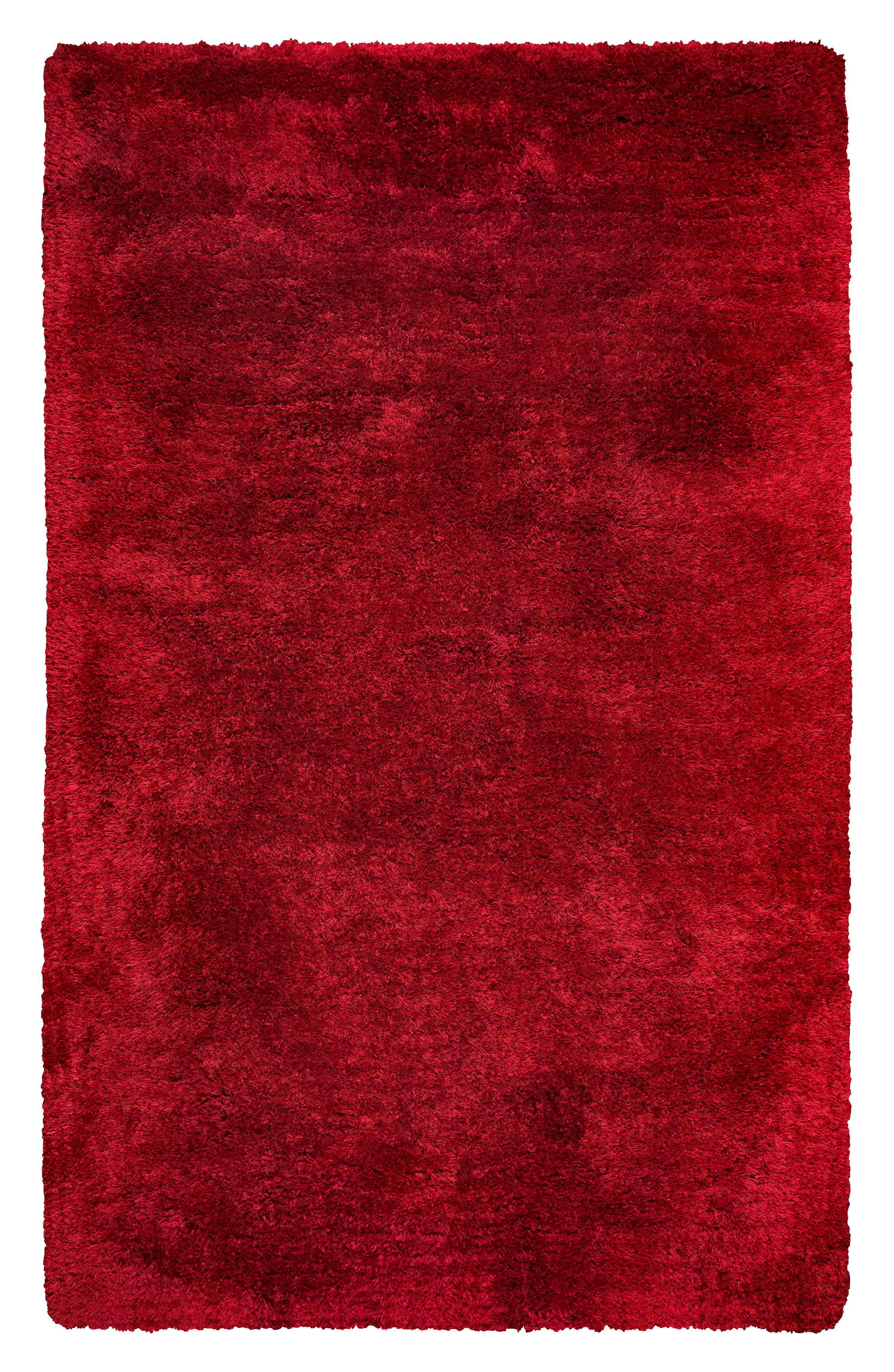 Plush Shag Hand Tufted Area Rug,                         Main,                         color, Red