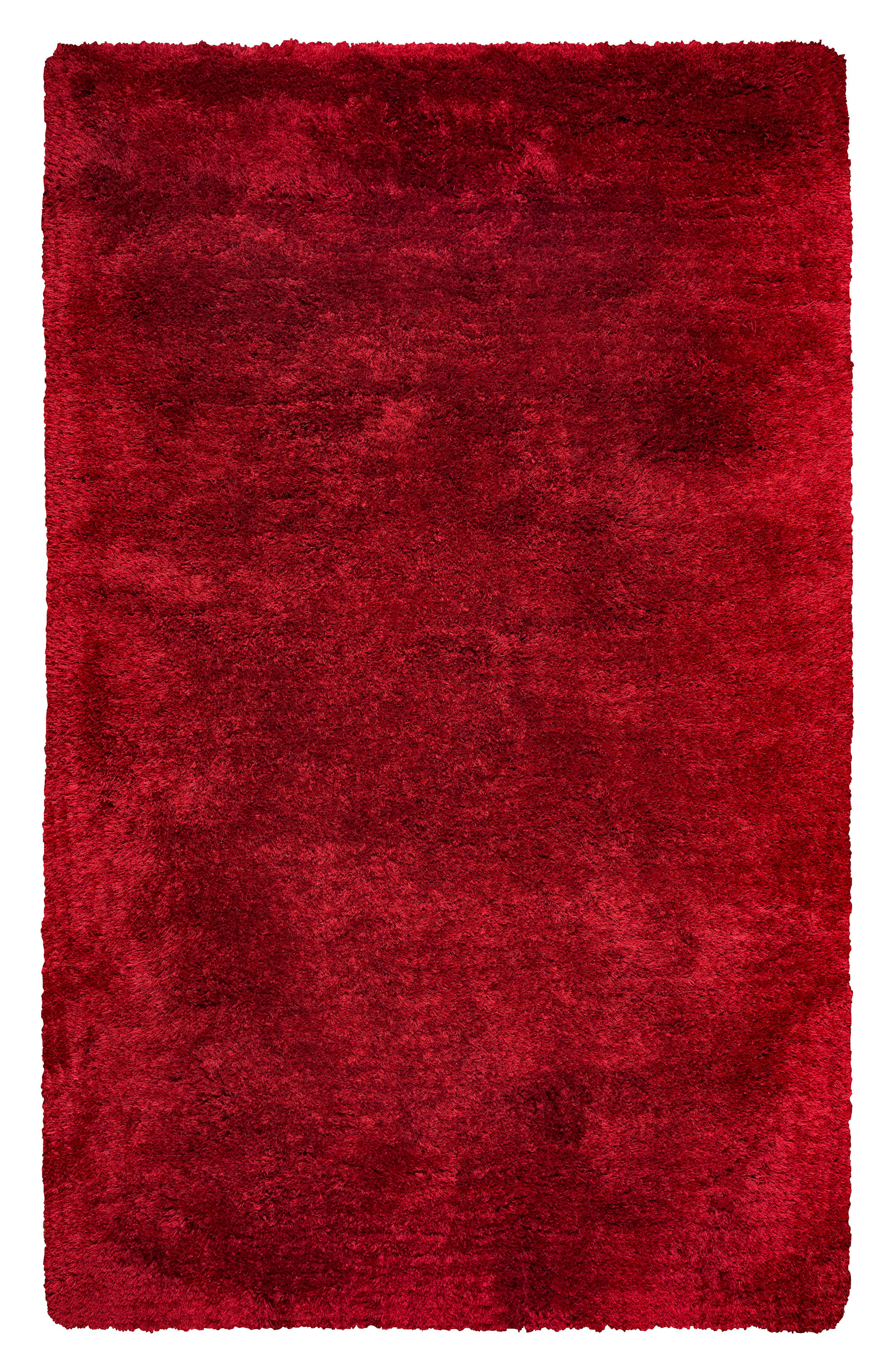 Plush Shag Hand Tufted Area Rug,                         Main,                         color, Red