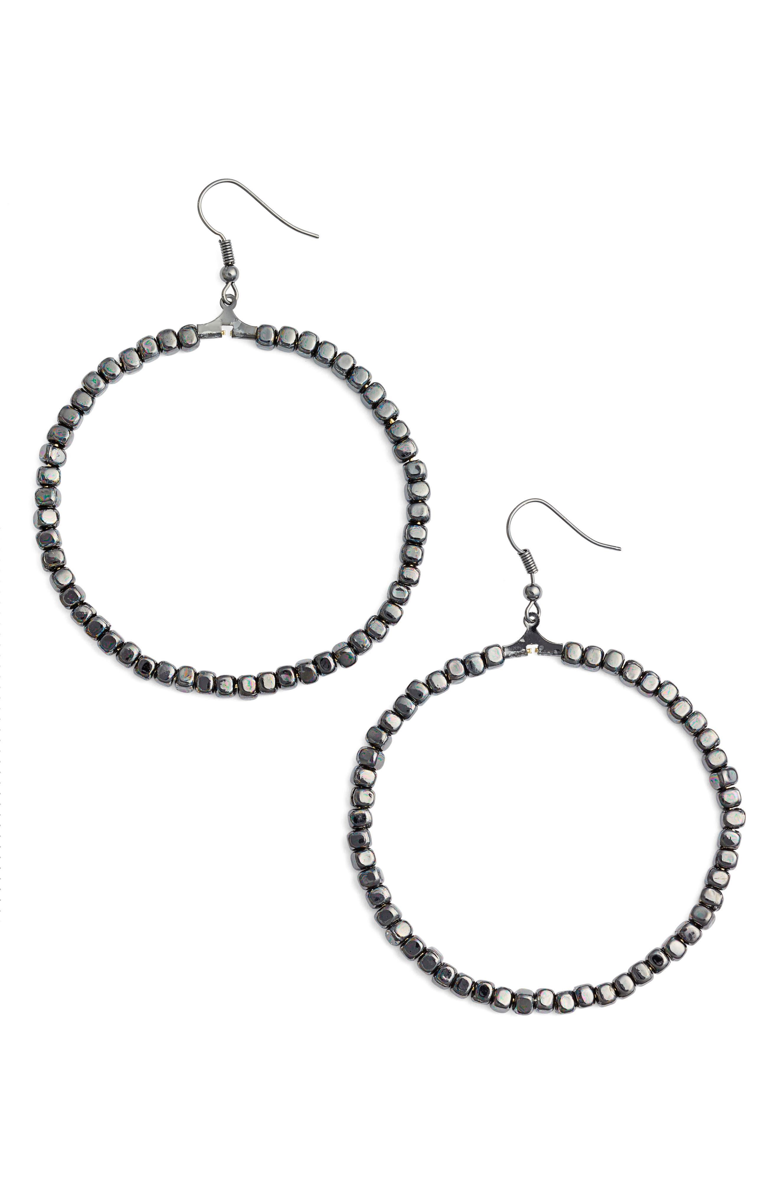Black Hoop Earrings for Women