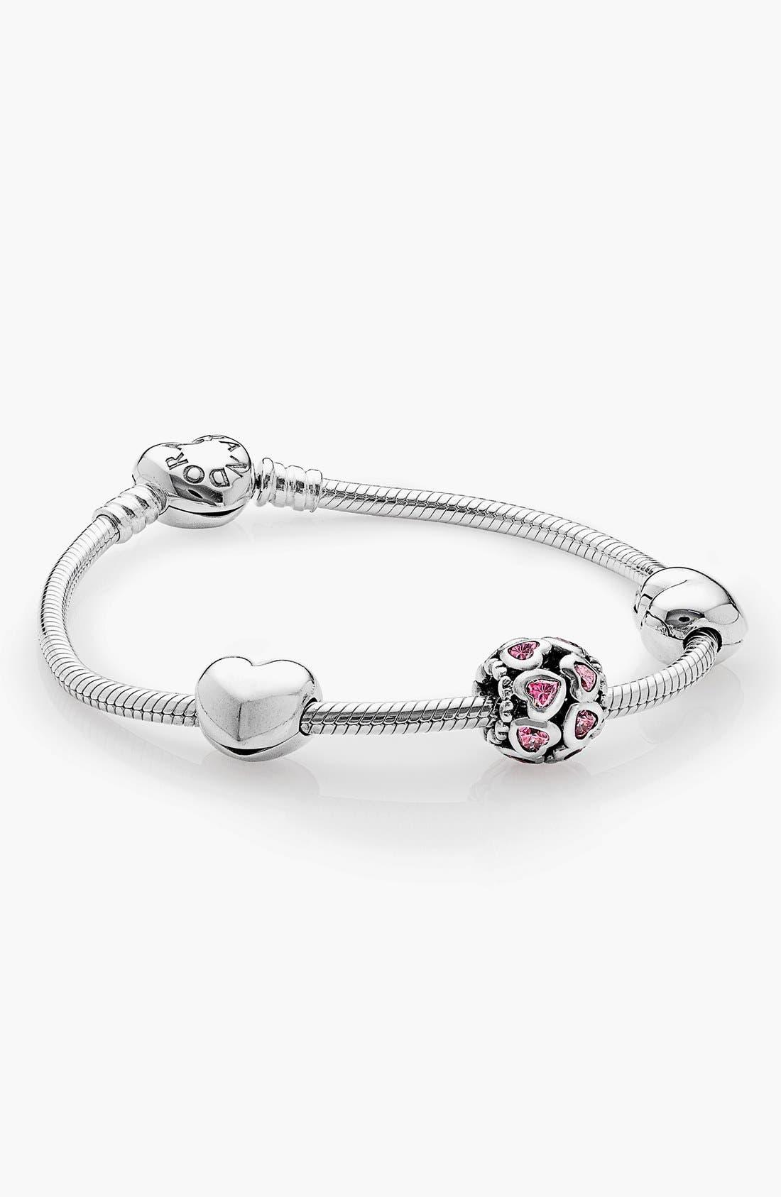 Alternate Image 1 Selected - PANDORA 'From the Heart' Boxed Charm Bracelet Set