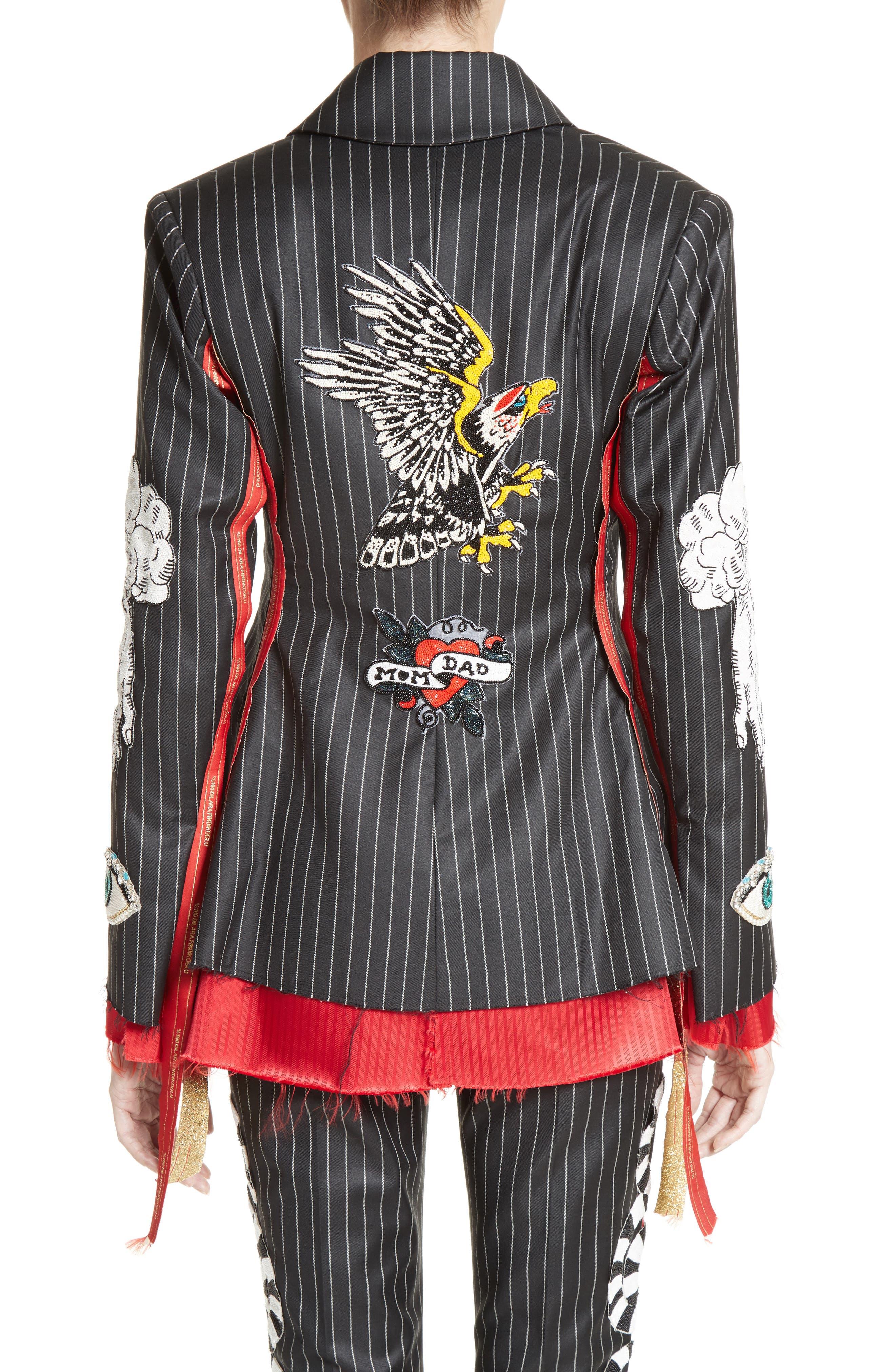 Alternate Image 2  - Dilara Findikoglu Embellished Pinstripe Suit Jacket