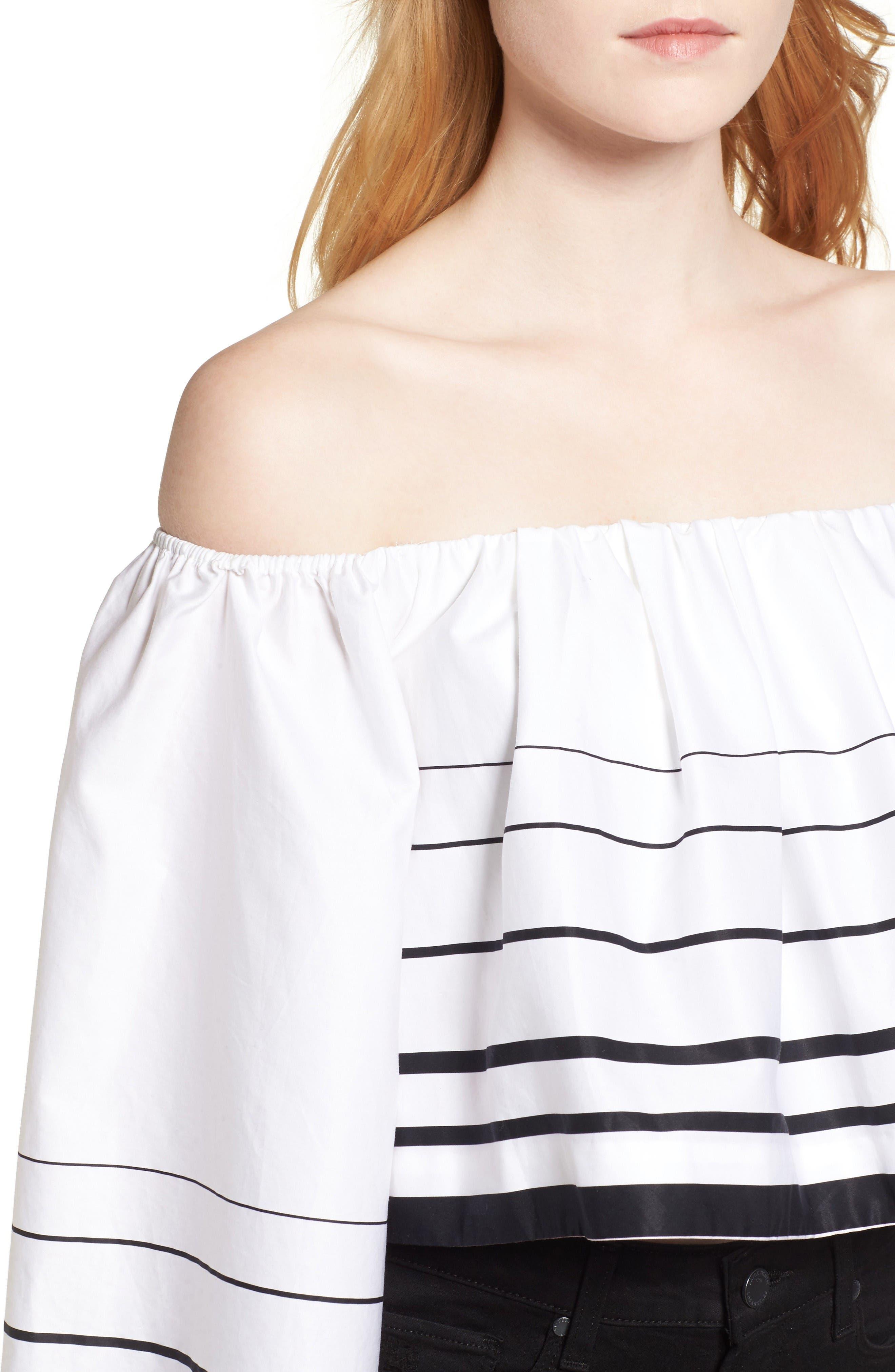 Alternate Image 4  - KENDALL + KYLIE Stripe Off the Shoulder Top