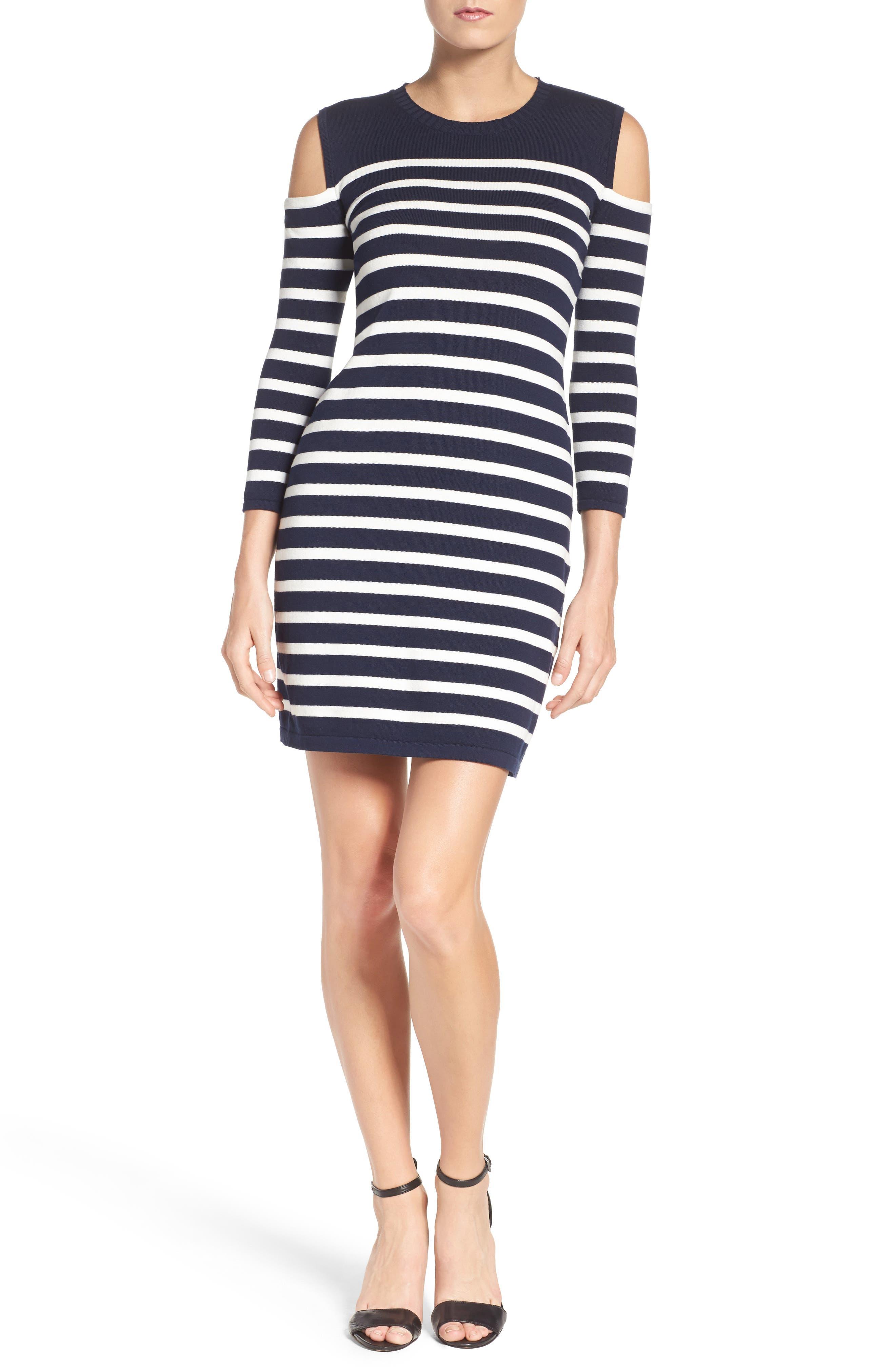 Trina Turk Tango Stripe Cotton Knit Dress,                             Alternate thumbnail 4, color,                             Whitewash/ Indigo
