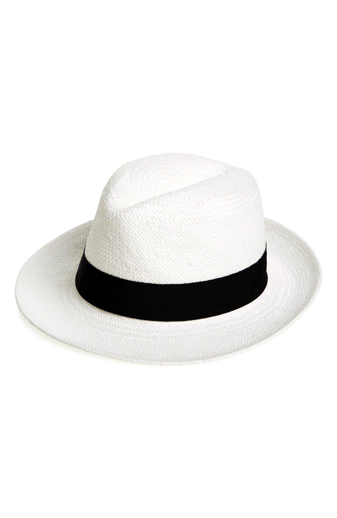 Straw Panama Hat,                         Main,                         color, White
