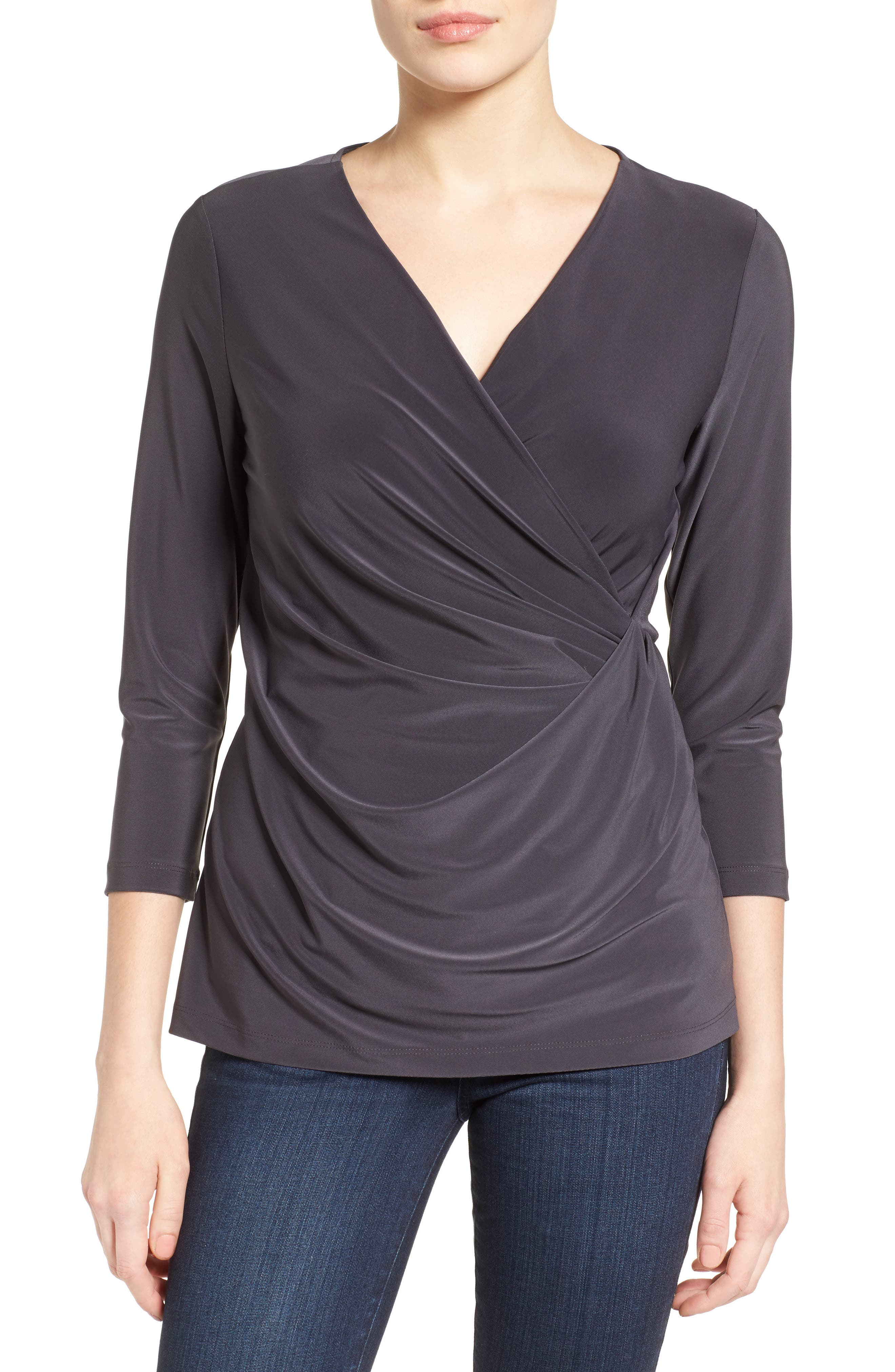 Solid Faux Wrap Top,                             Main thumbnail 1, color,                             Phantom