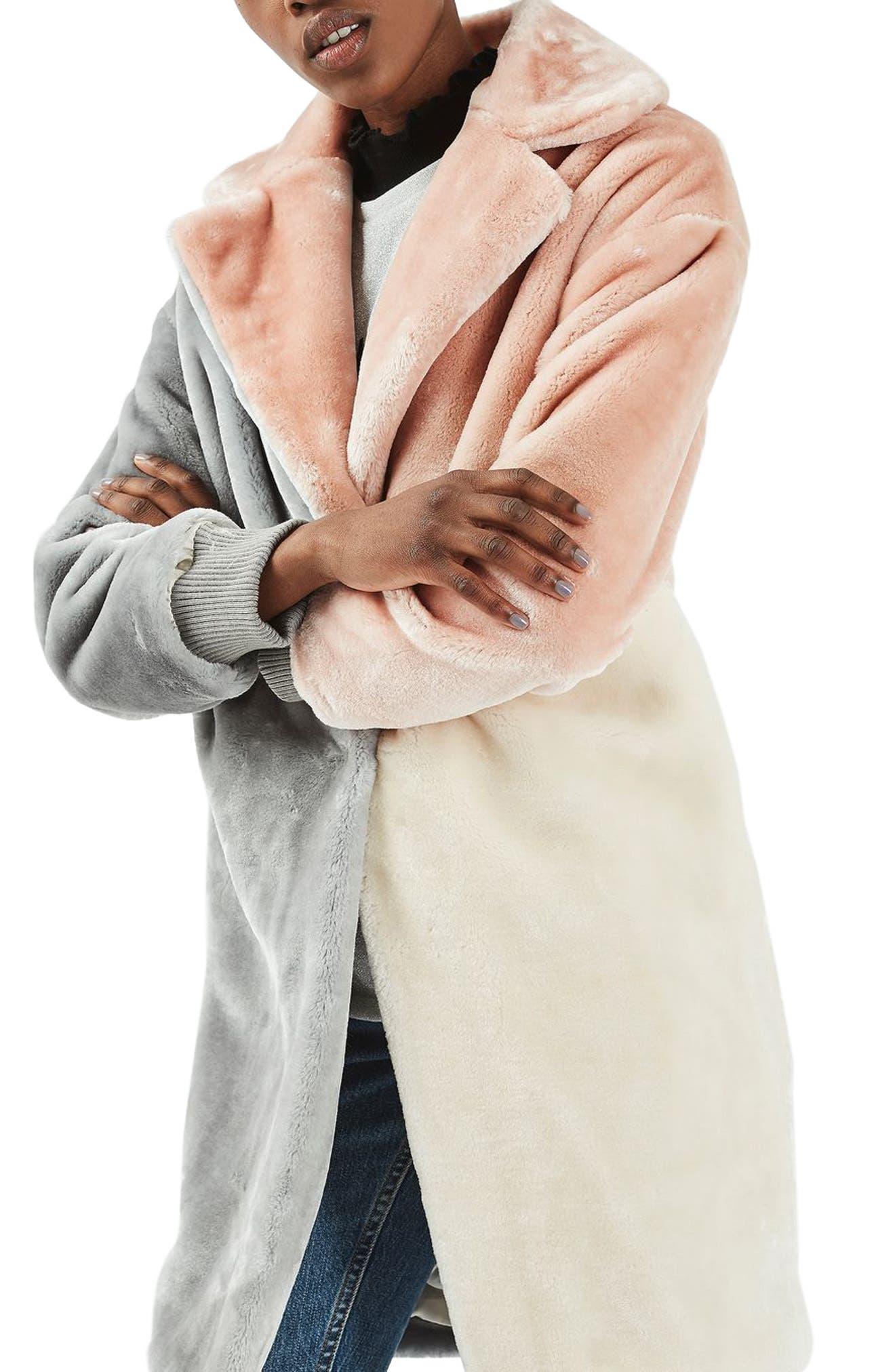 Main Image - Topshop Patchwork Faux Fur Coat