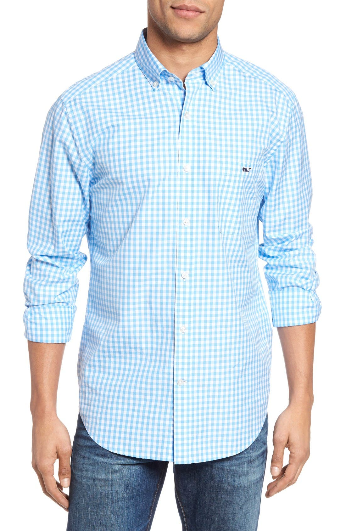 Elmont Gingham Sport Shirt,                         Main,                         color, Ocean Breeze Blue