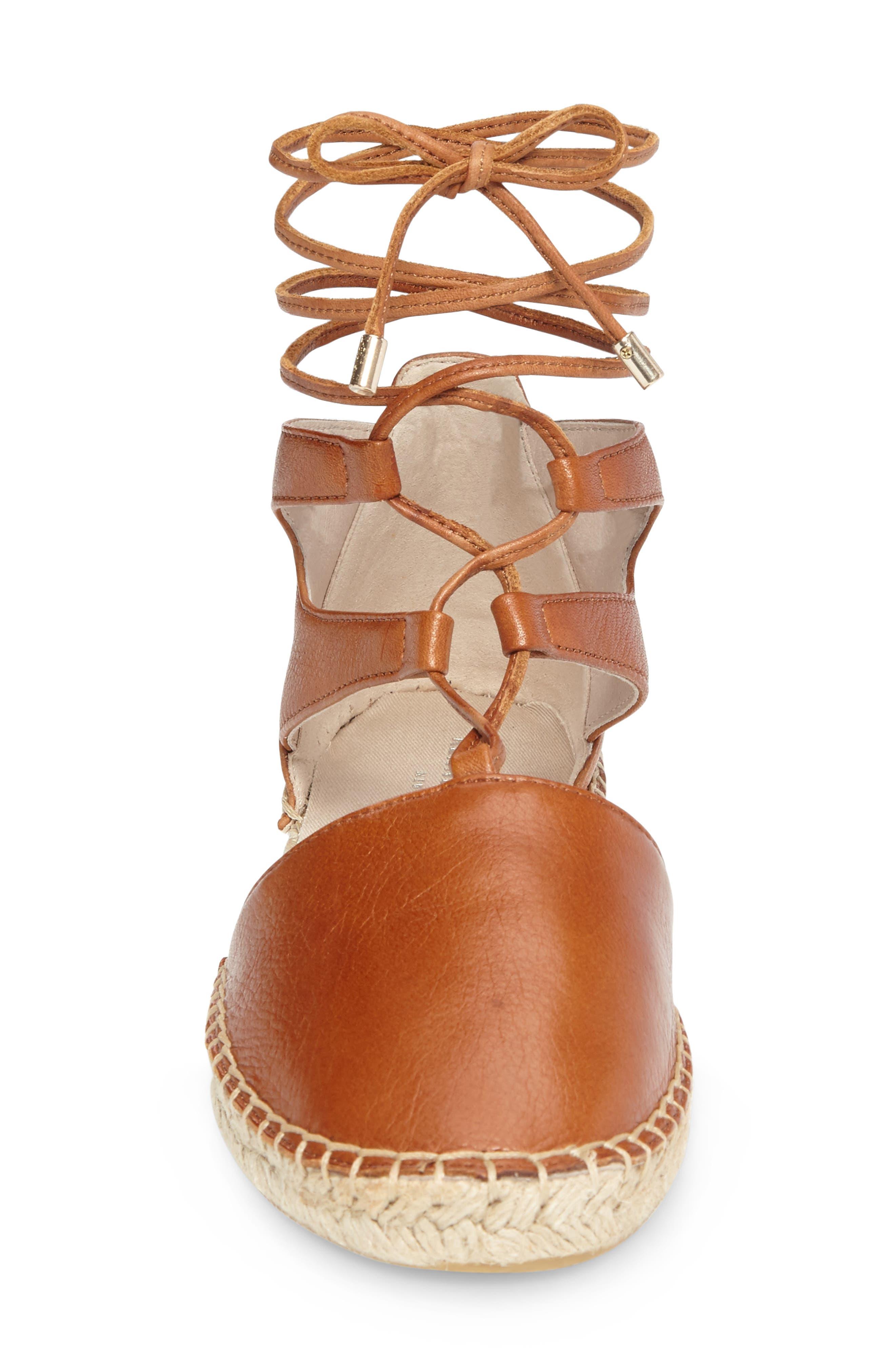 Beverly Espadrille Flat,                             Alternate thumbnail 3, color,                             Cognac Leather