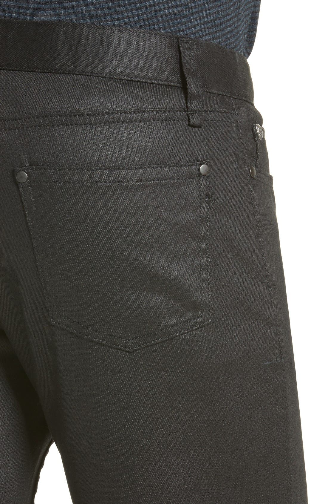 Alternate Image 4  - John Varvatos Collection Skinny Fit Coated Jeans (Black)