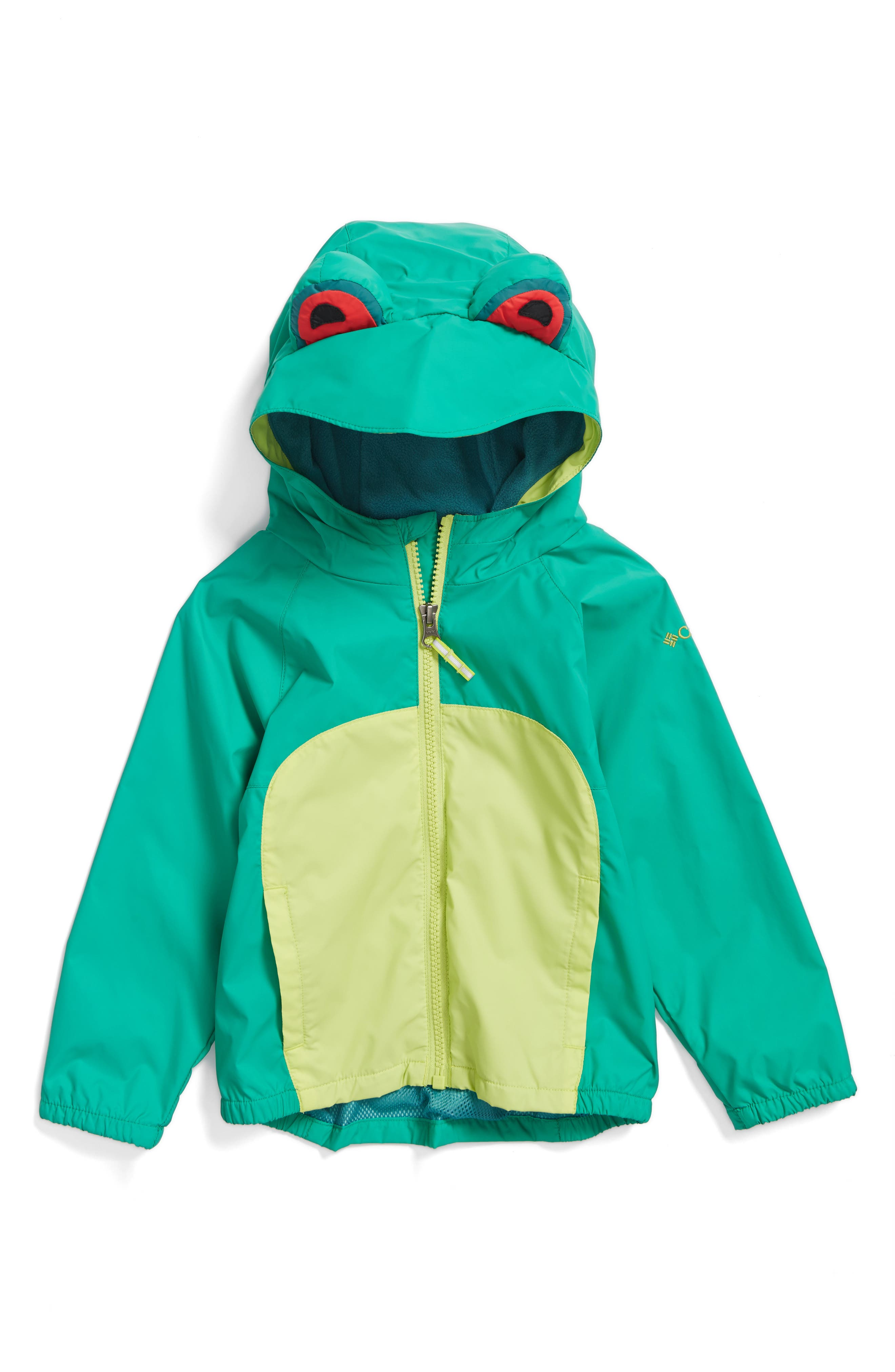 Kitteribbit Water Resistant Windbreaker,                             Main thumbnail 1, color,                             Circuit Tree Frog