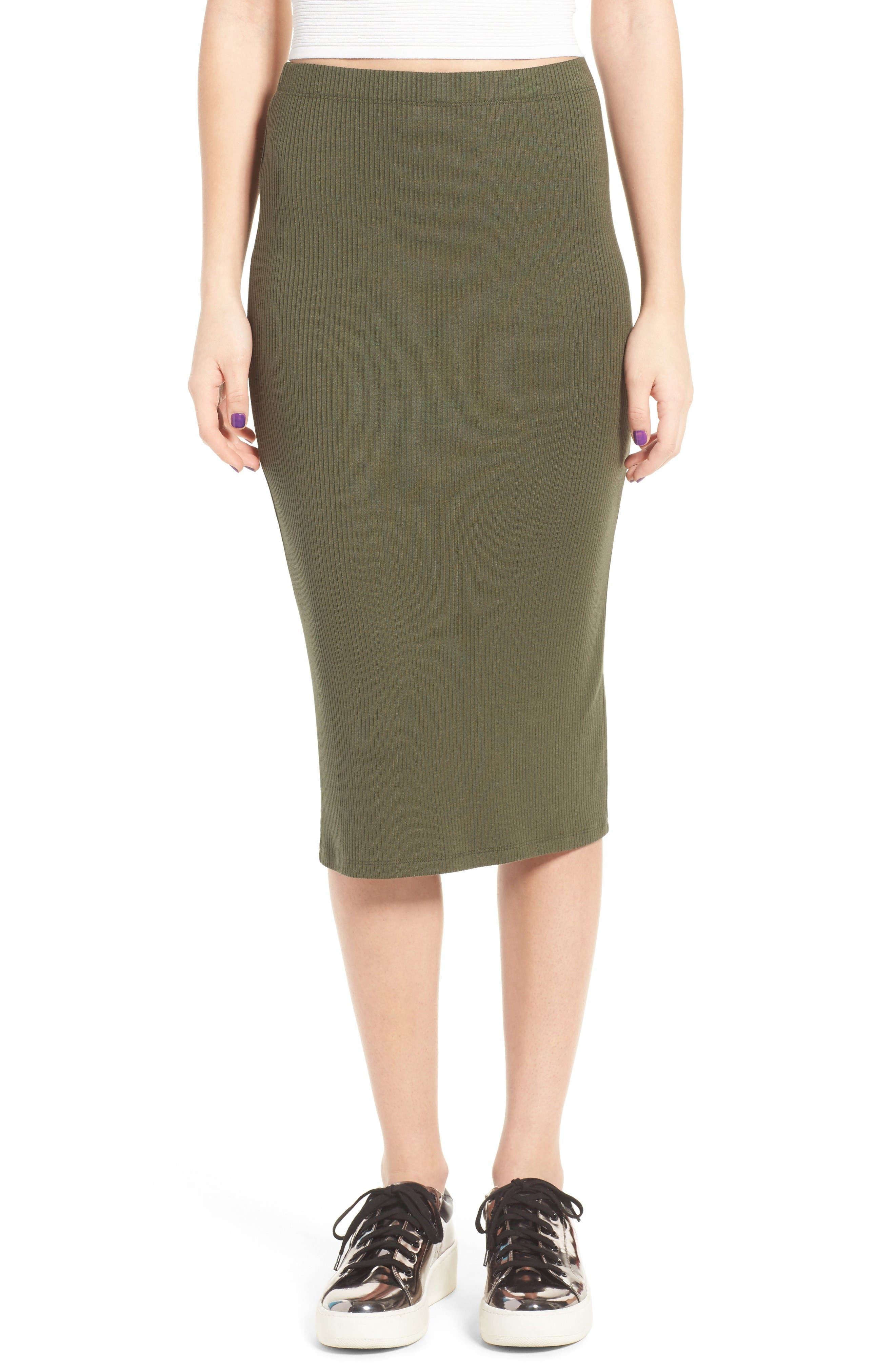 Rib Midi Skirt,                         Main,                         color, Olive Sarma