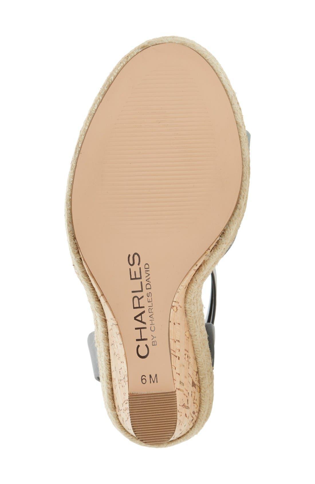 Brit Wedge Platform Sandal,                             Alternate thumbnail 4, color,                             Black/ Gunmetal