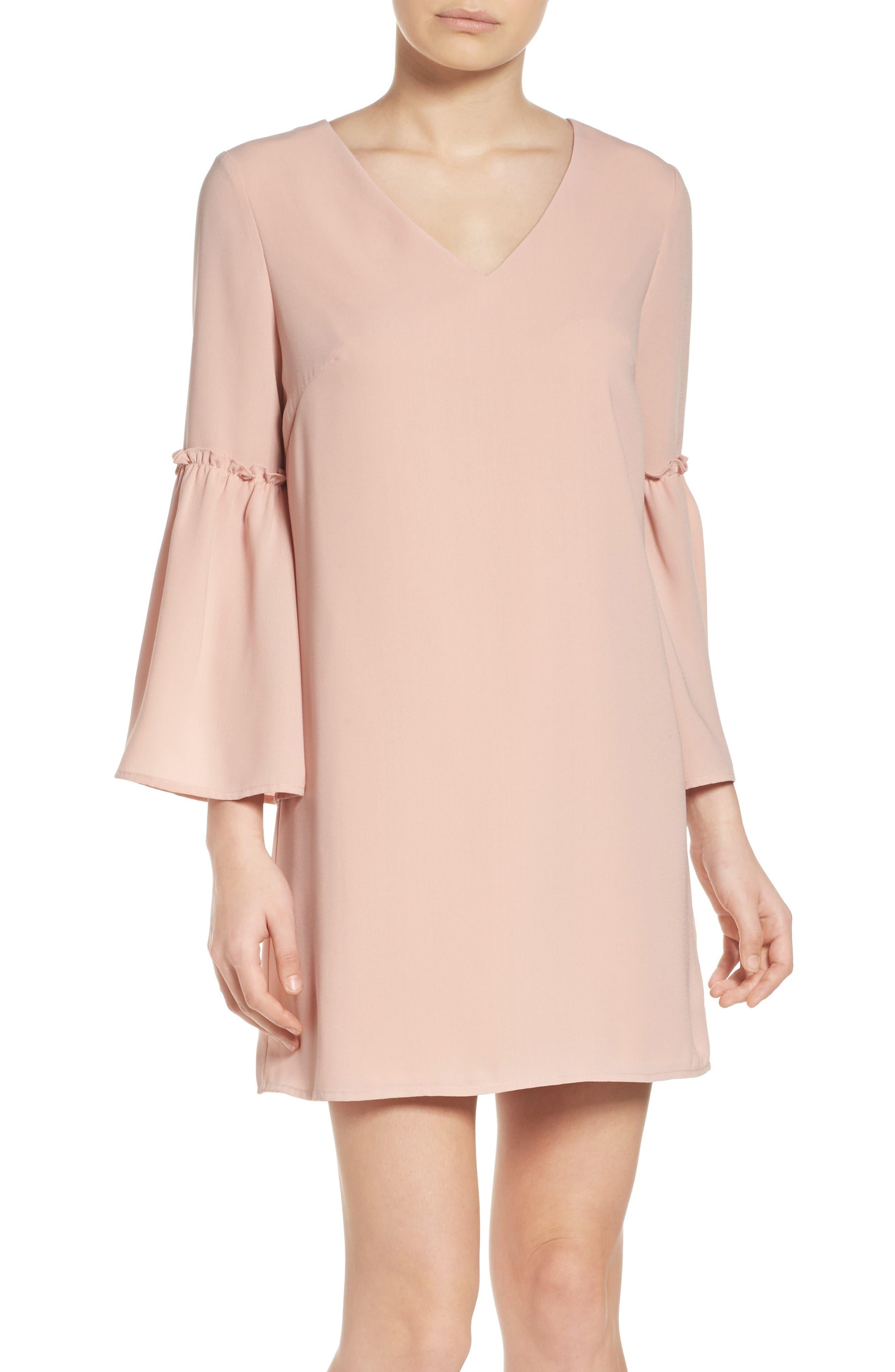 Ruffle Bell Sleeve Dress,                             Main thumbnail 1, color,                             Pink Dust