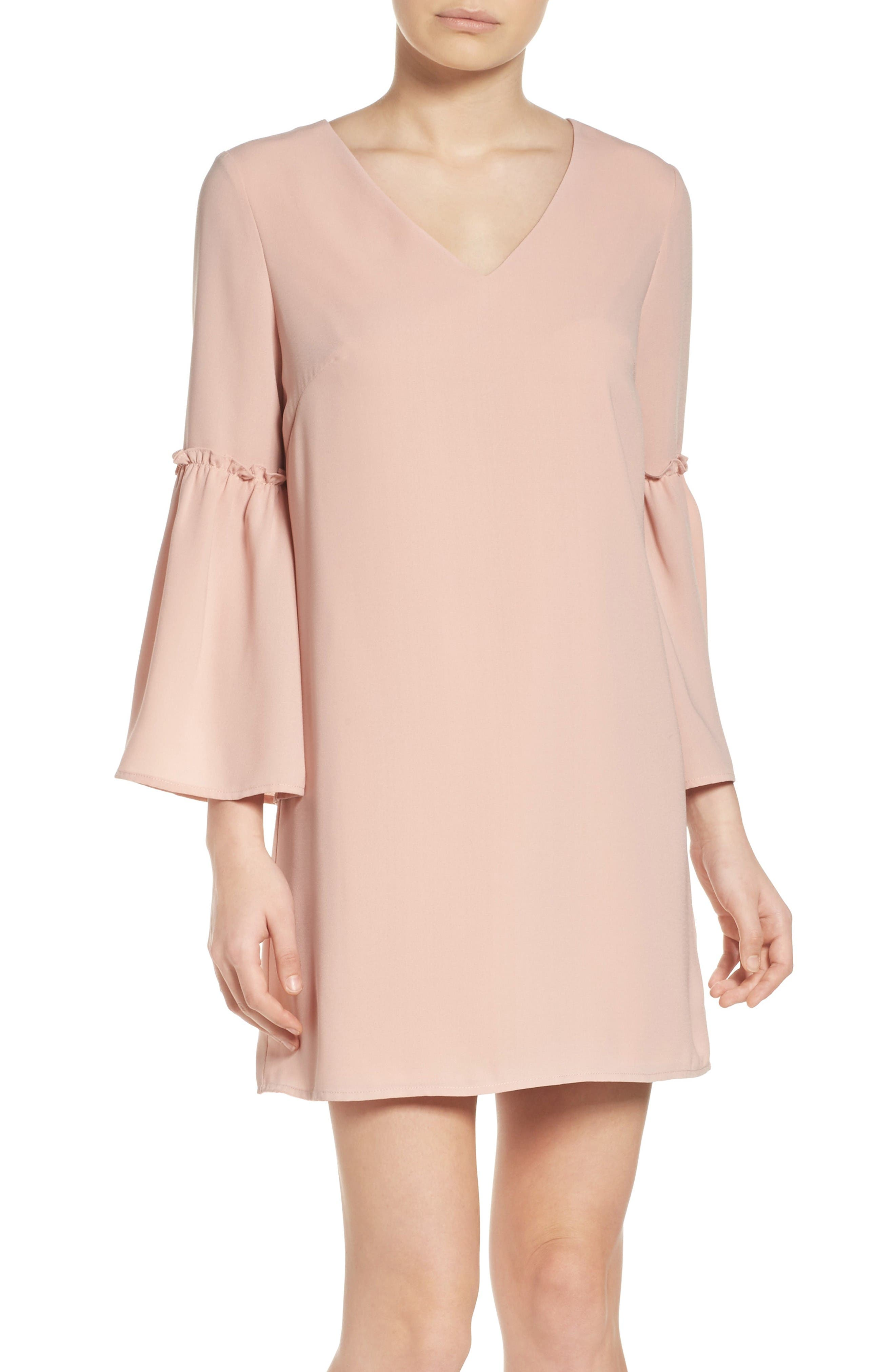 Ruffle Bell Sleeve Dress,                         Main,                         color, Pink Dust