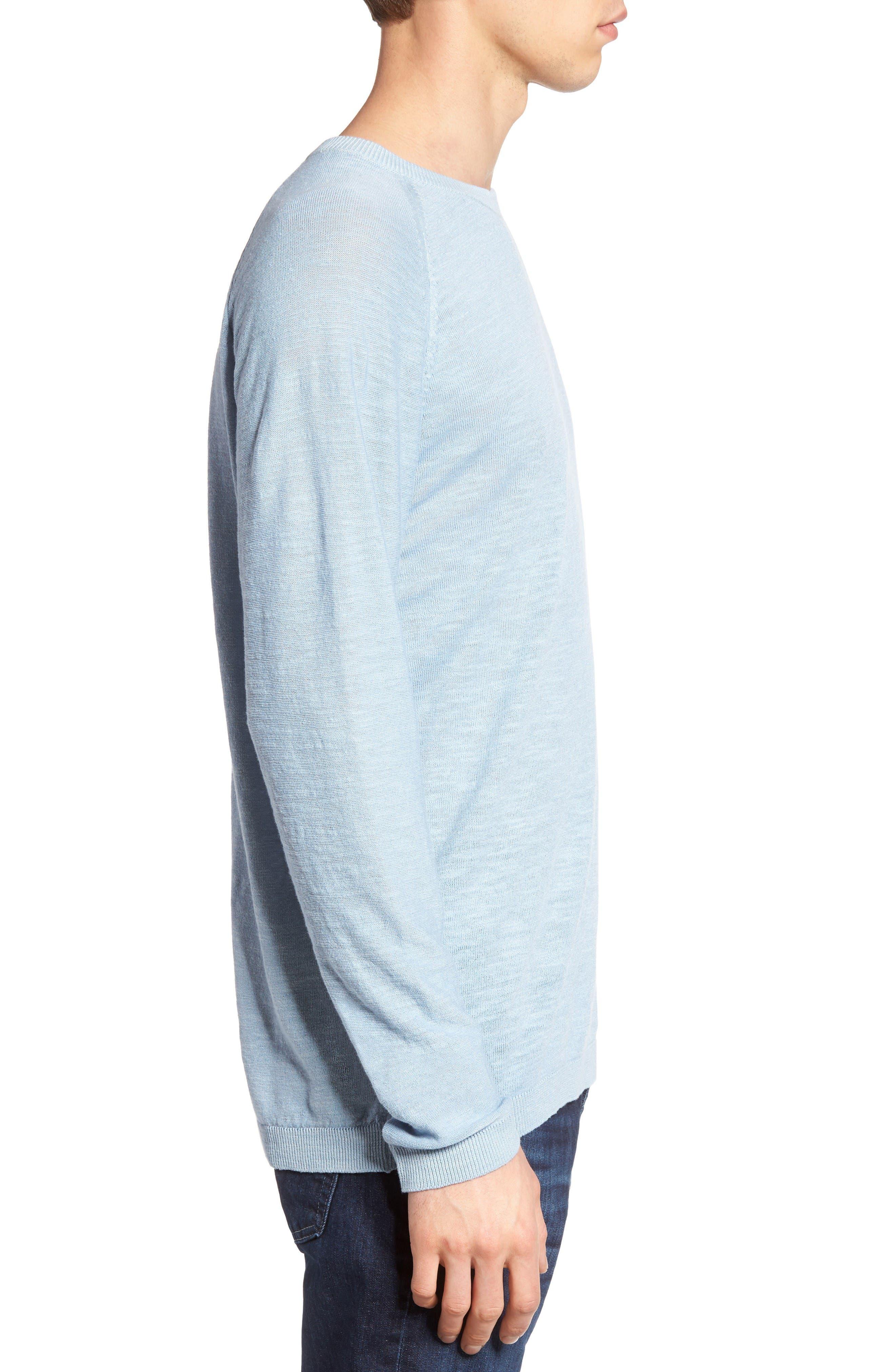Arambol Cotton & Linen Sweater,                             Alternate thumbnail 3, color,                             Blue Lagoon