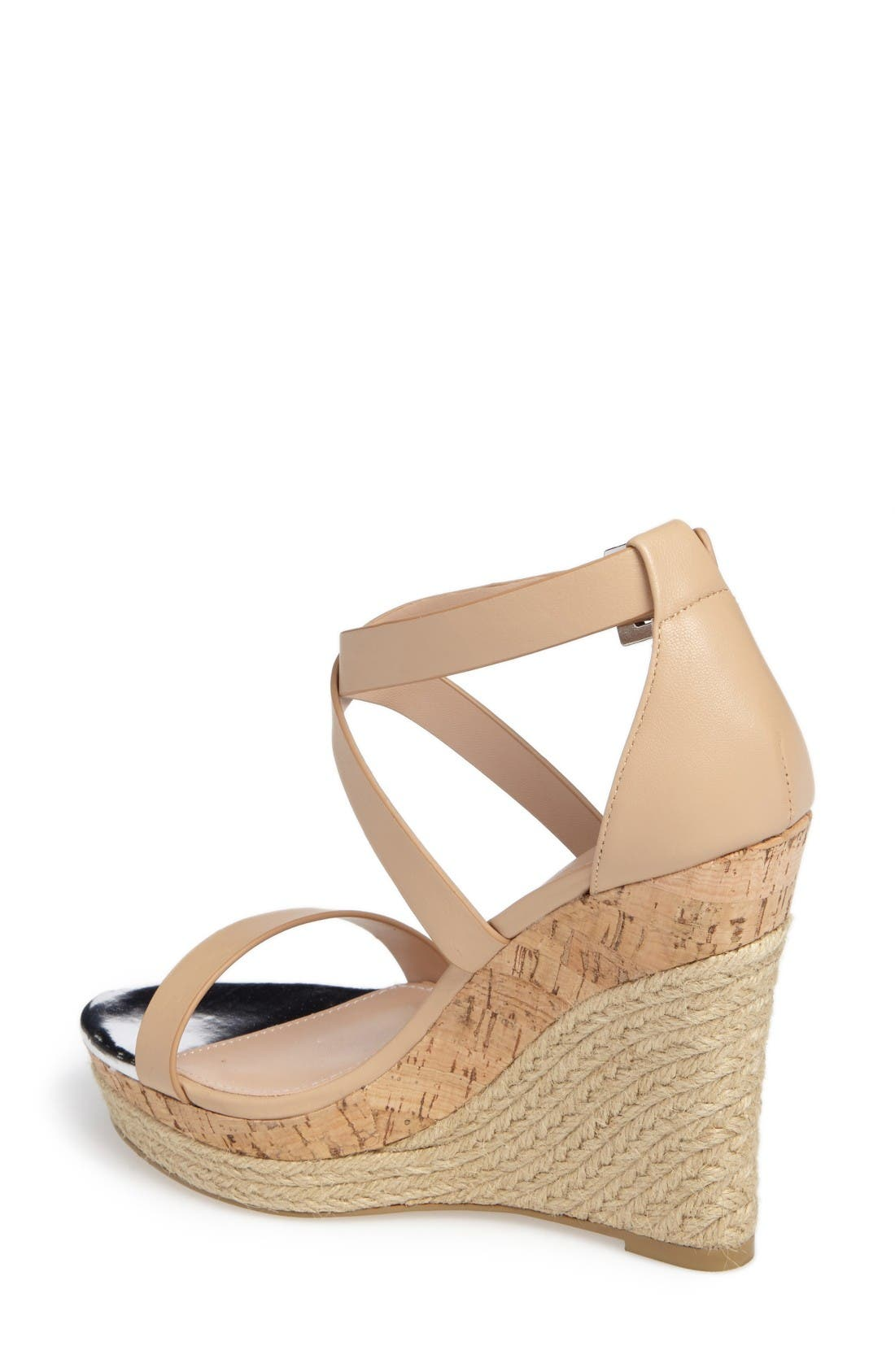 Aden Platform Wedge Sandal,                             Alternate thumbnail 2, color,                             Nude Leather