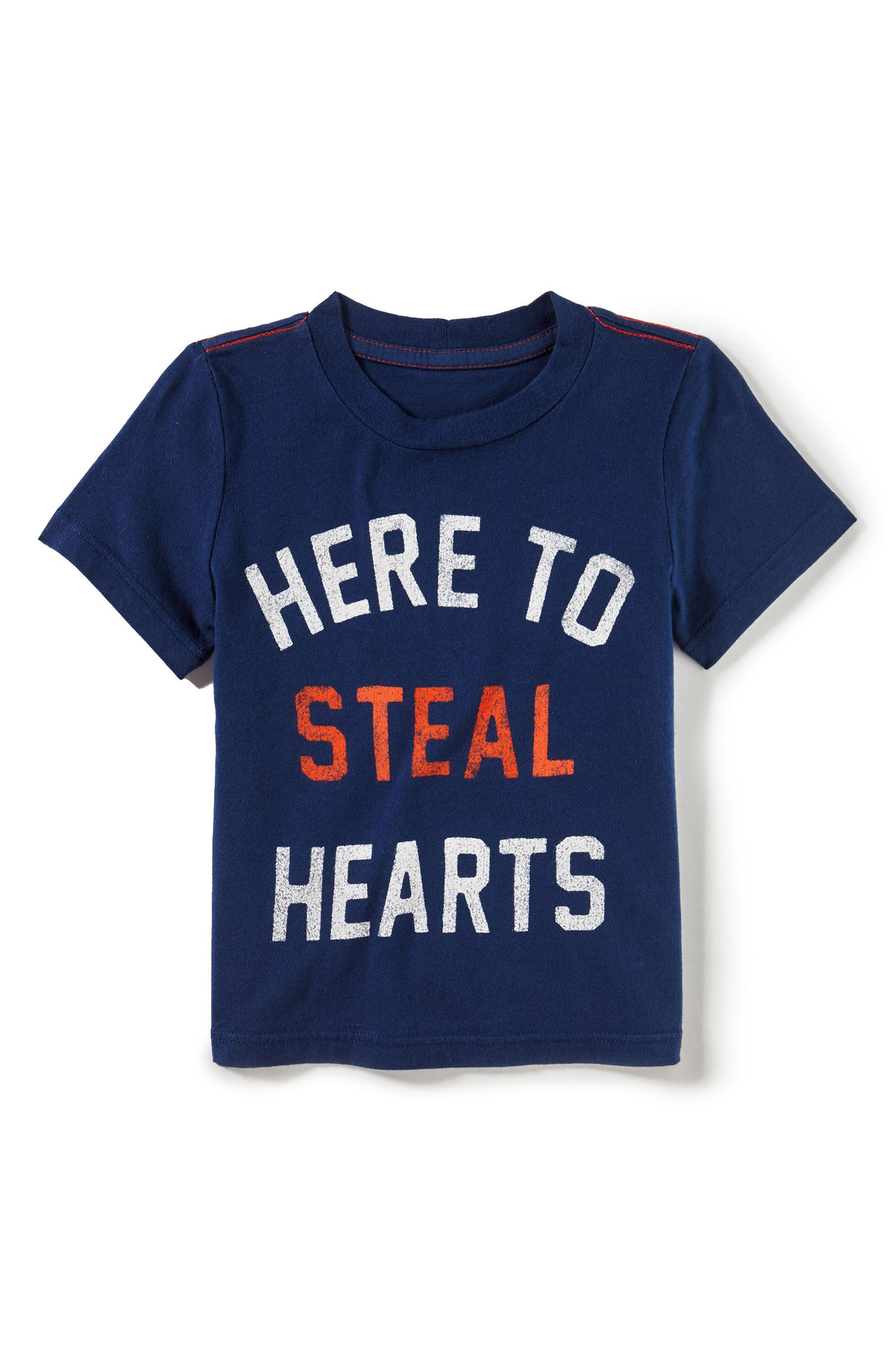 Steal Hearts Graphic T-Shirt,                         Main,                         color, Navy