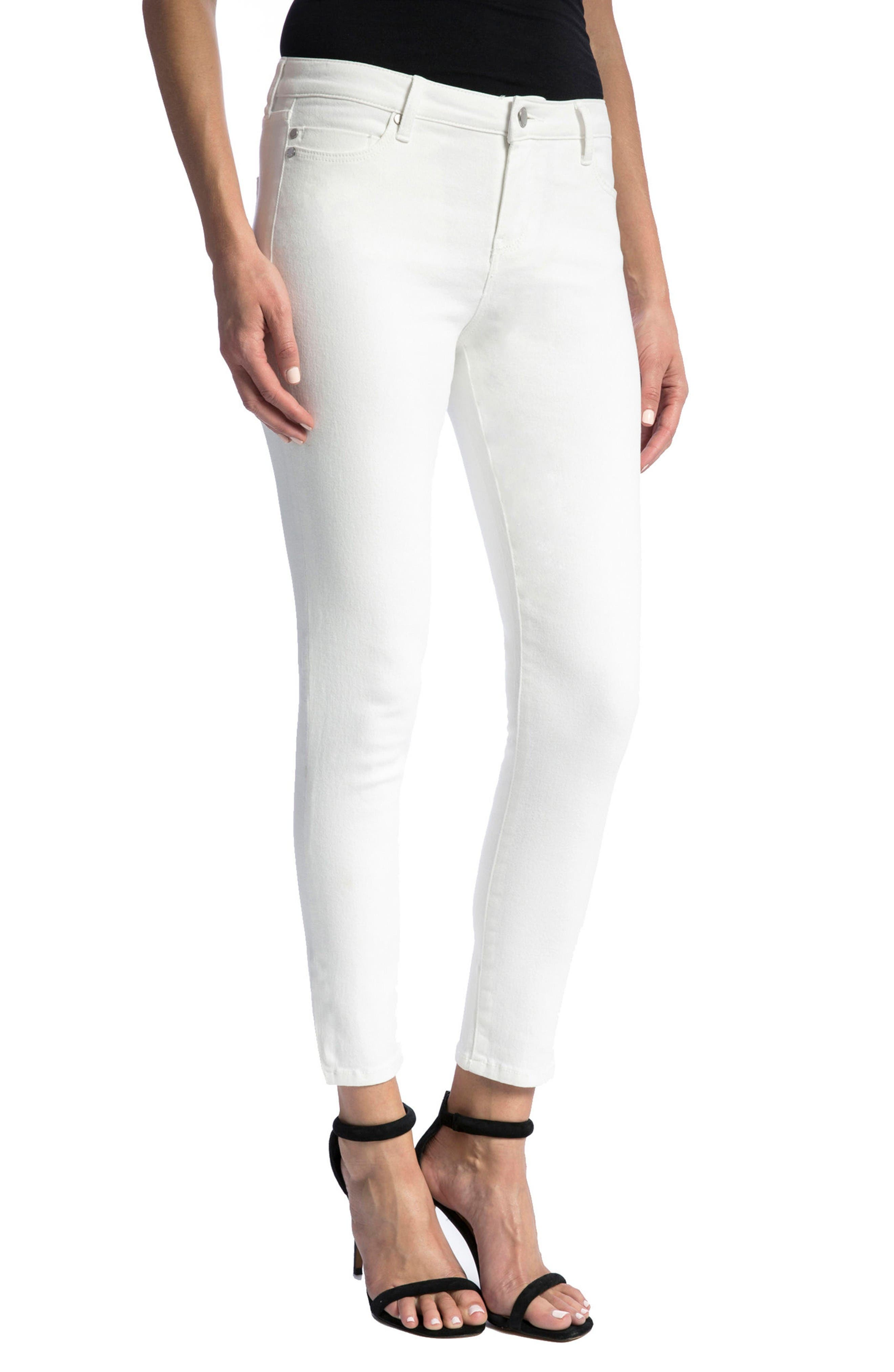 Penny Ankle Skinny Jeans,                             Alternate thumbnail 4, color,                             Bright White