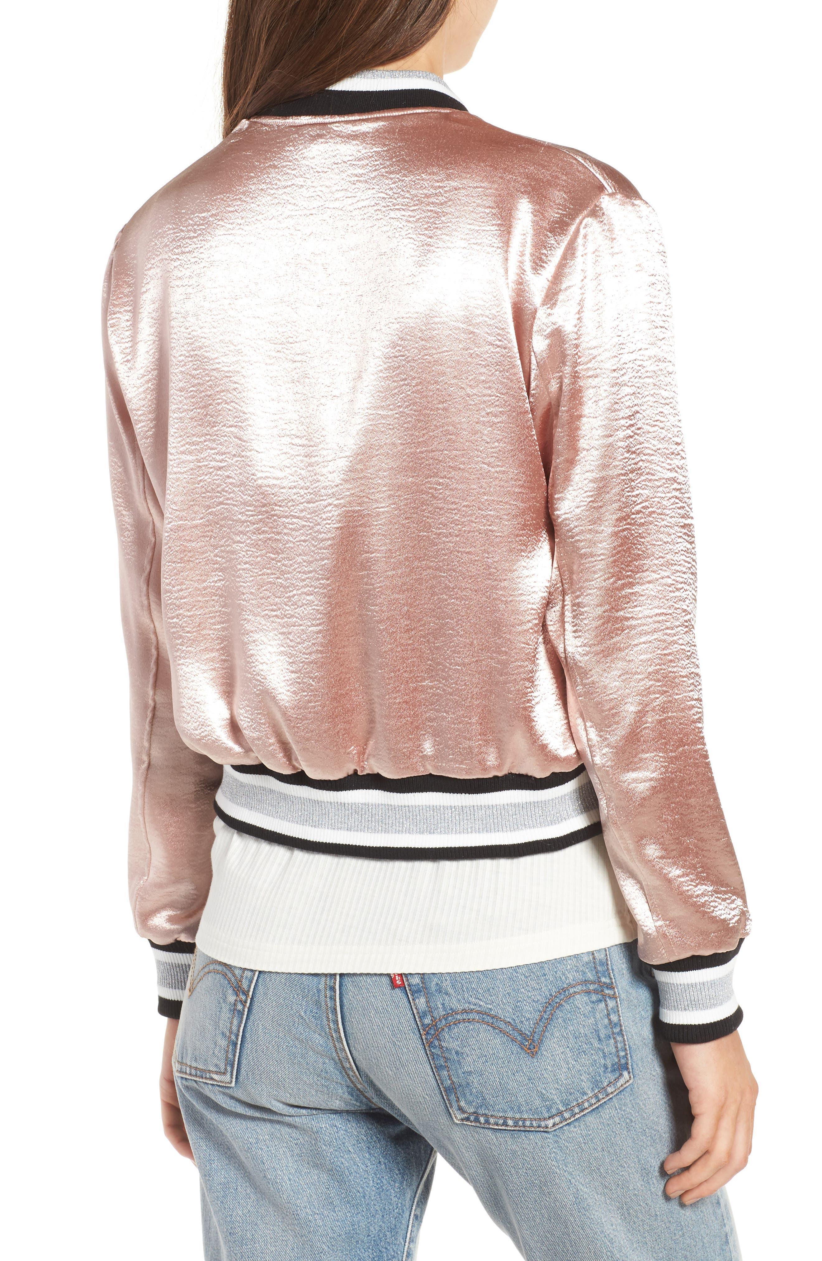 Satin Varsity Jacket,                             Alternate thumbnail 2, color,                             Blush