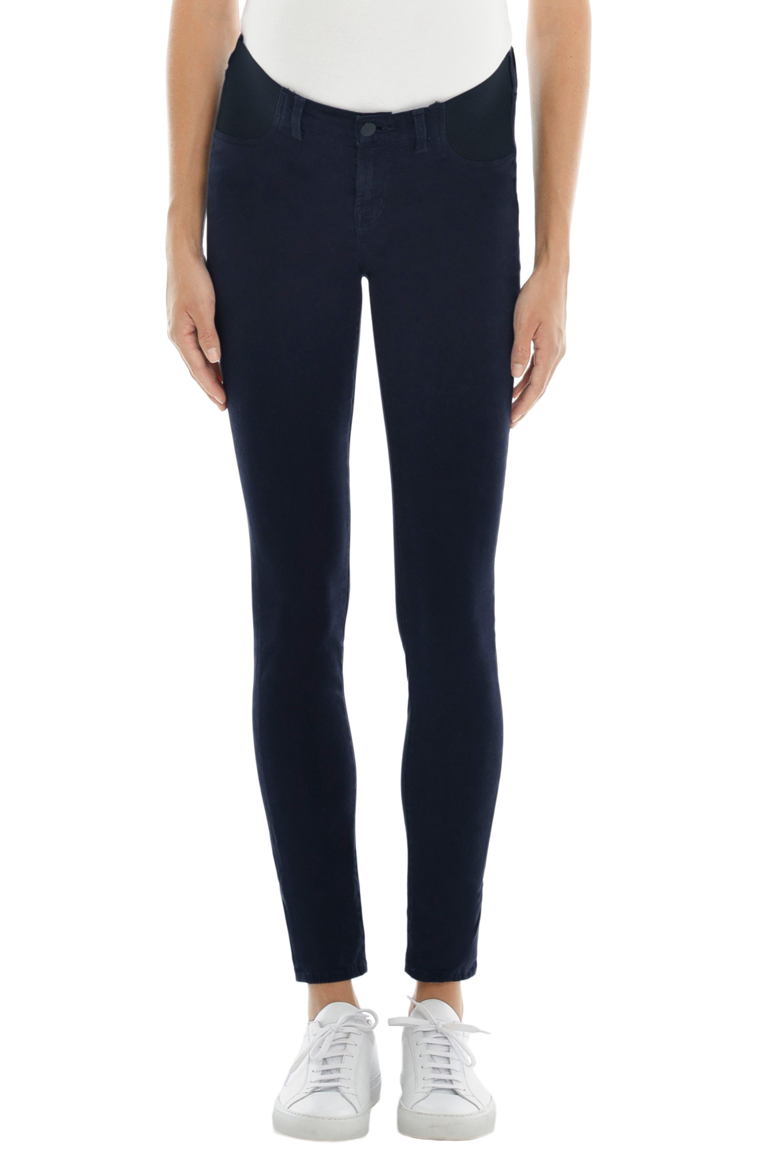 Alternate Image 1 Selected - J Brand Mama J Luxe Sateen Maternity Skinny Jeans (Dark Navy)