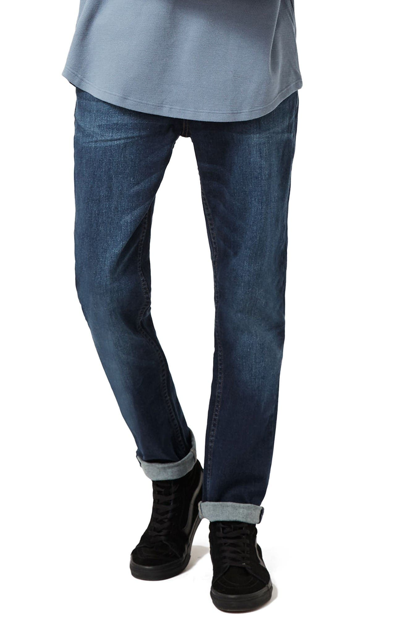 Main Image - Topman Stretch Slim Fit Jeans (Mid Blue)