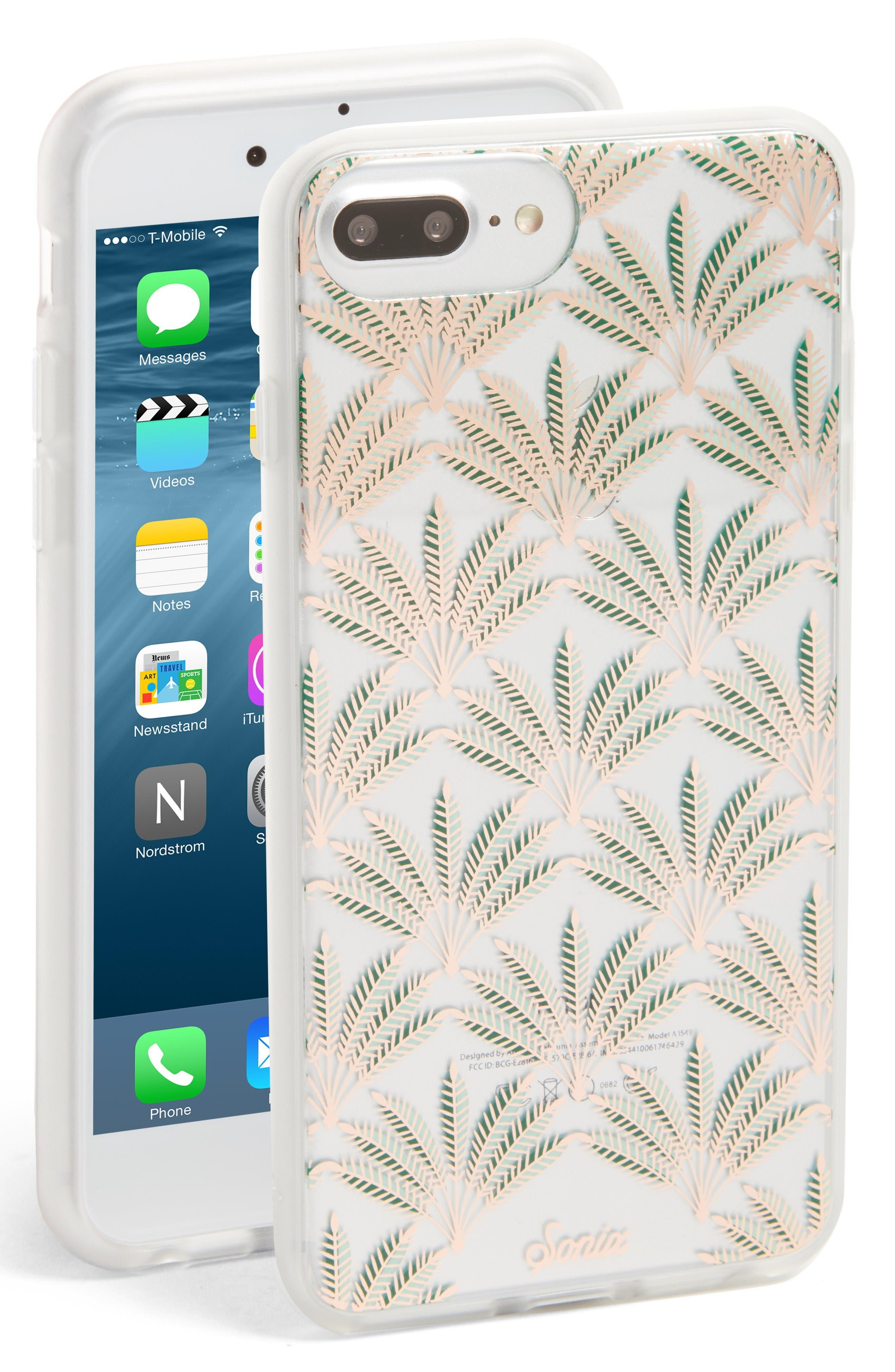 Palm Deco iPhone 6/6s/7/8 & 6/6s/7/8 Plus Case,                         Main,                         color, Gold