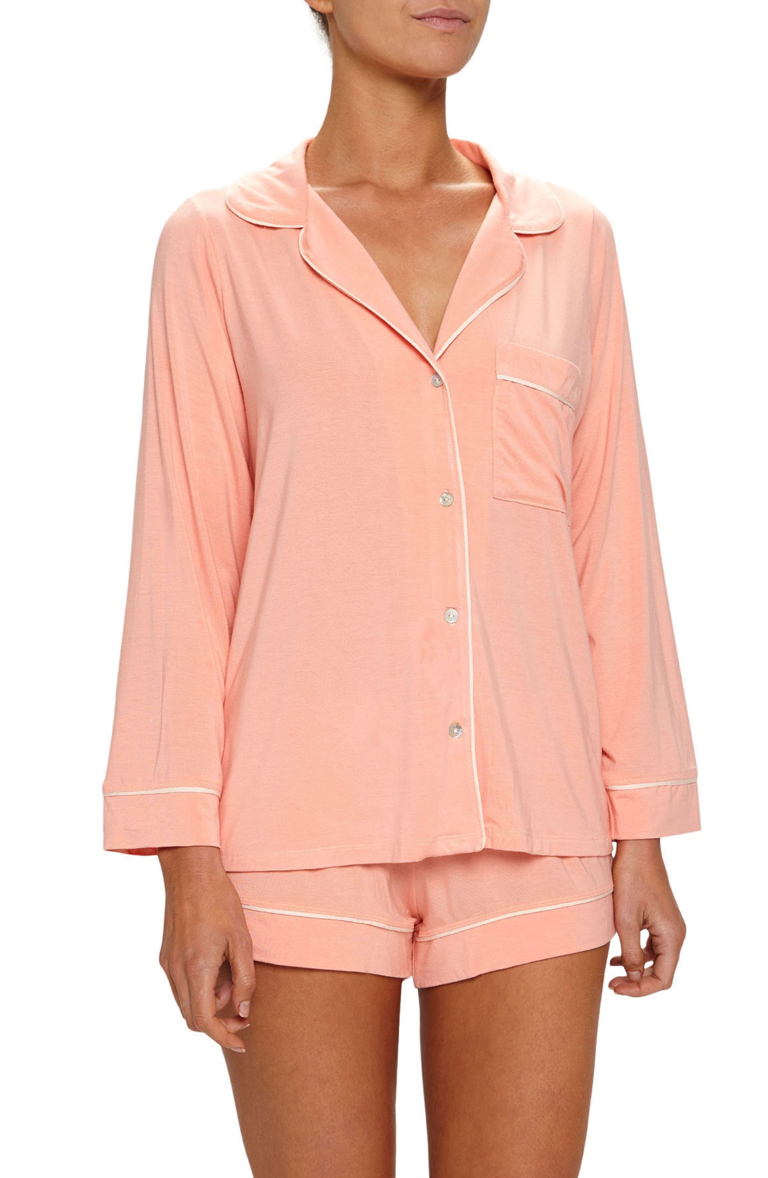 'Gisele' Short Pajamas,                             Main thumbnail 1, color,                             Guava/ Bellini