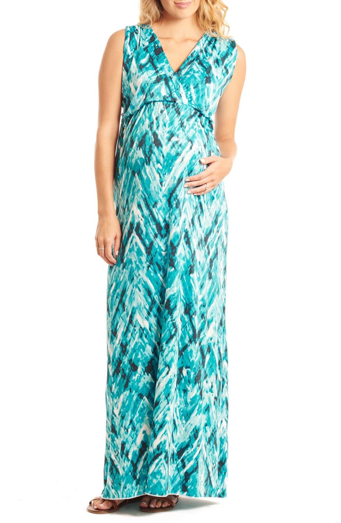 'Jill' Maternity Maxi Dress,                         Main,                         color, Maui Blue
