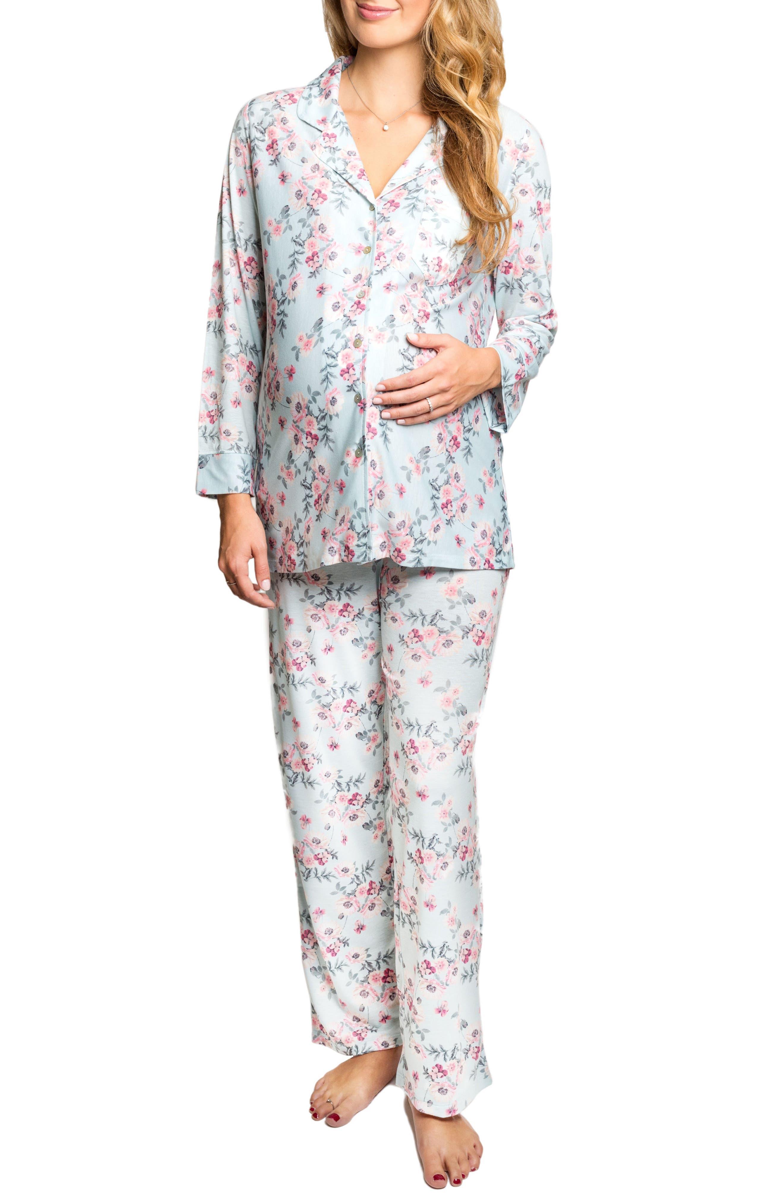 Helena Maternity/Nursing Pajamas,                         Main,                         color, Cloud Blue