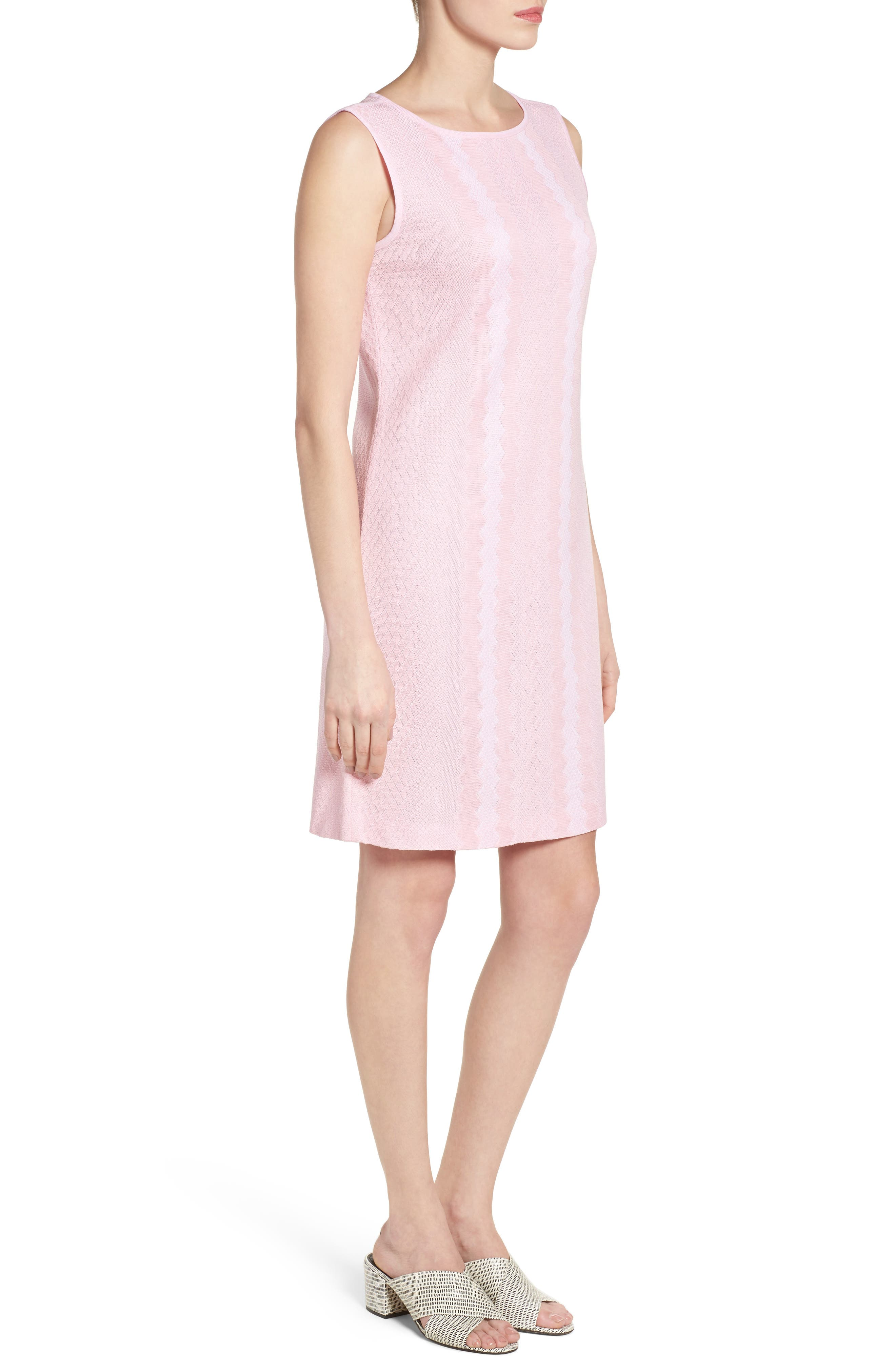 Sleeveless Knit Sheath Dress,                             Alternate thumbnail 3, color,                             Perfect Pink/ White