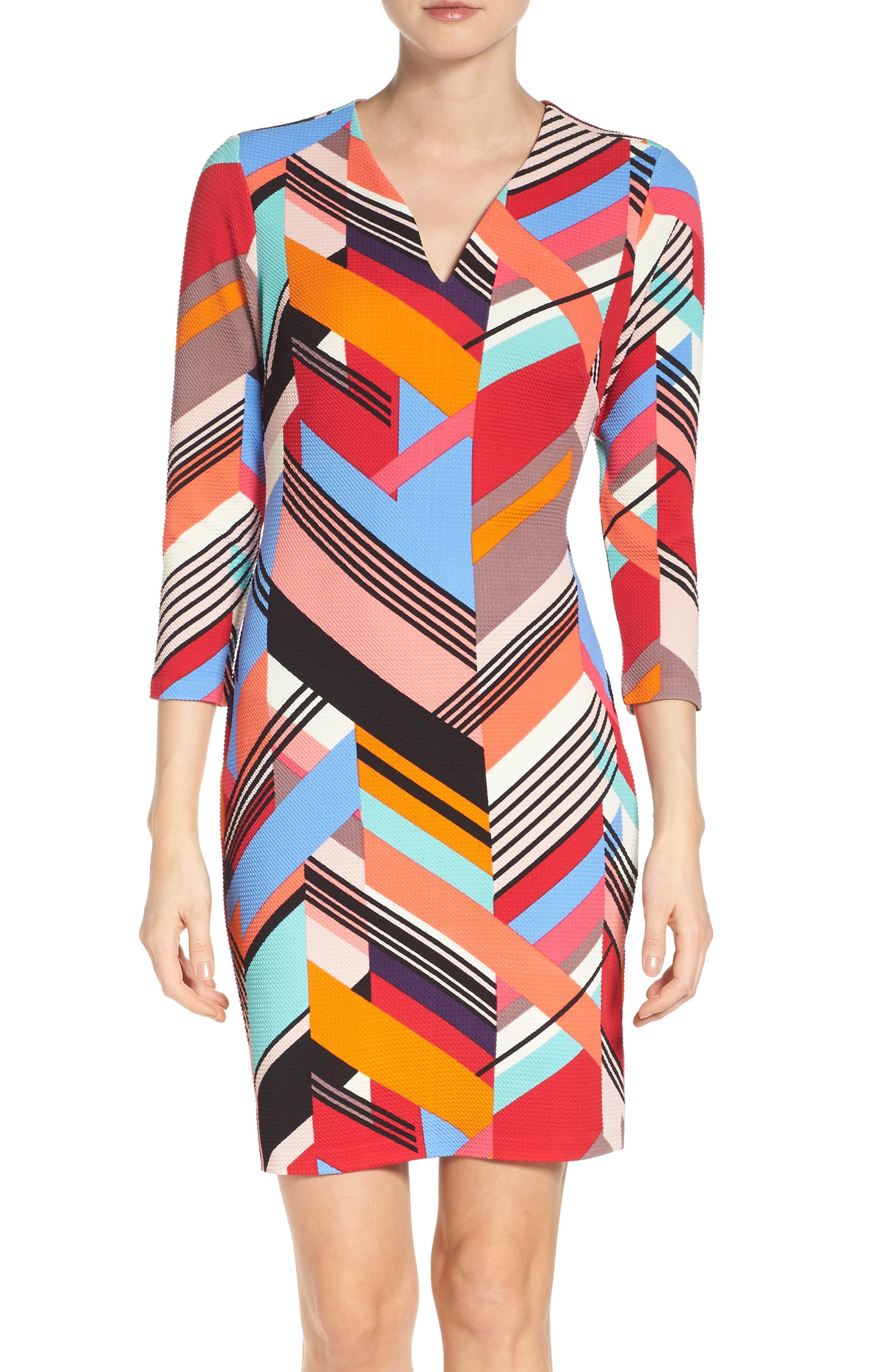 Print Piqué Sheath Dress,                         Main,                         color, Multi