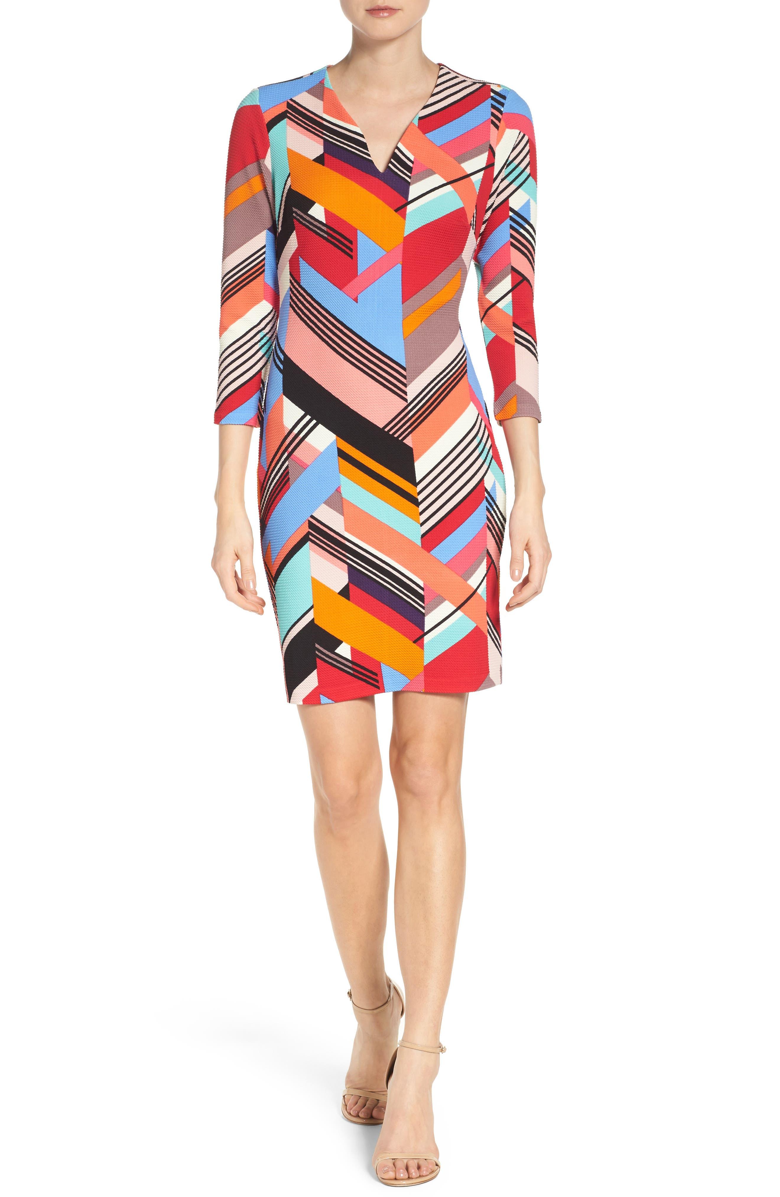 Print Piqué Sheath Dress,                             Alternate thumbnail 4, color,                             Multi