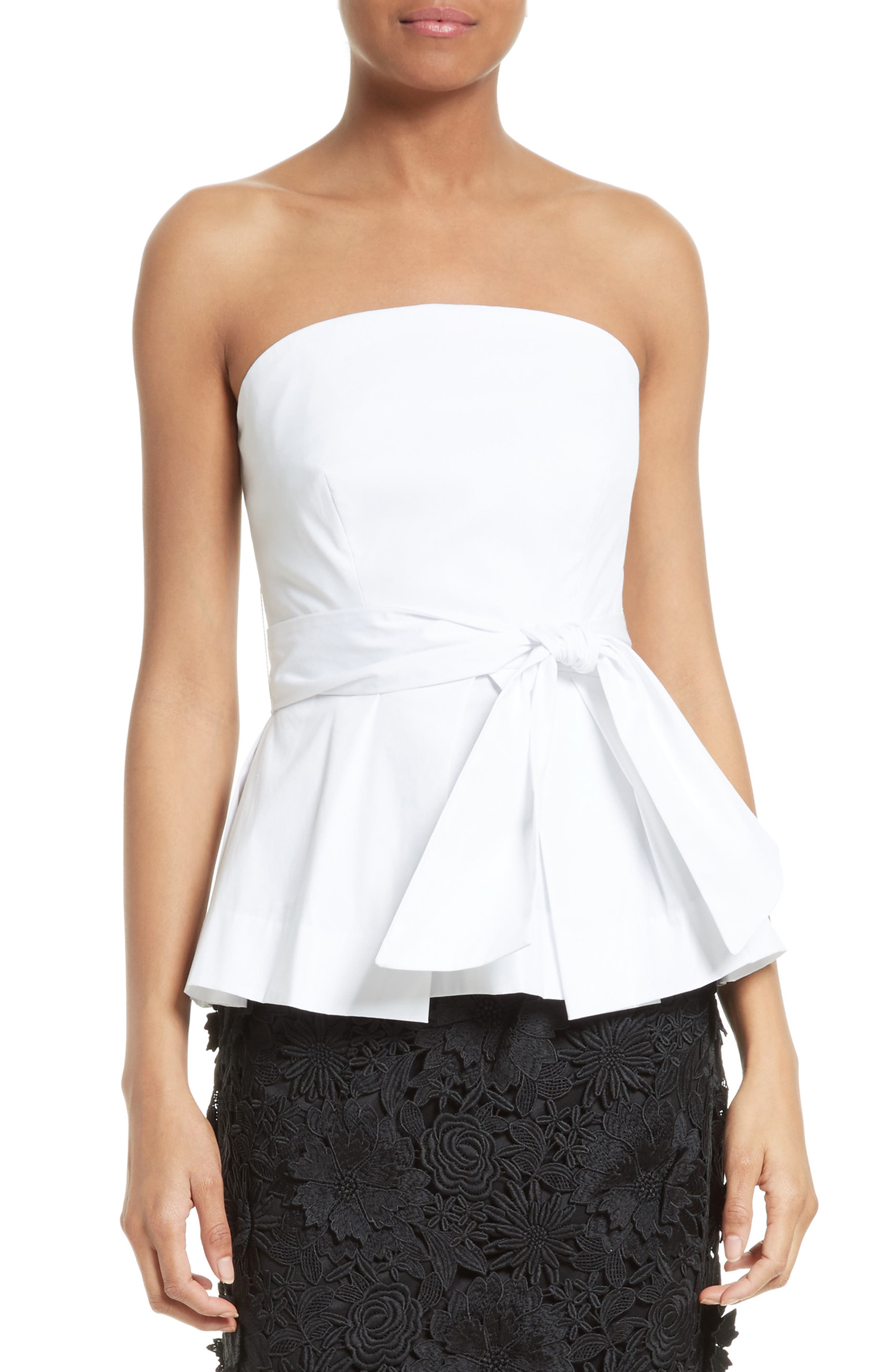 Alternate Image 1 Selected - Milly Kylie Strapless Stretch Poplin Peplum Top