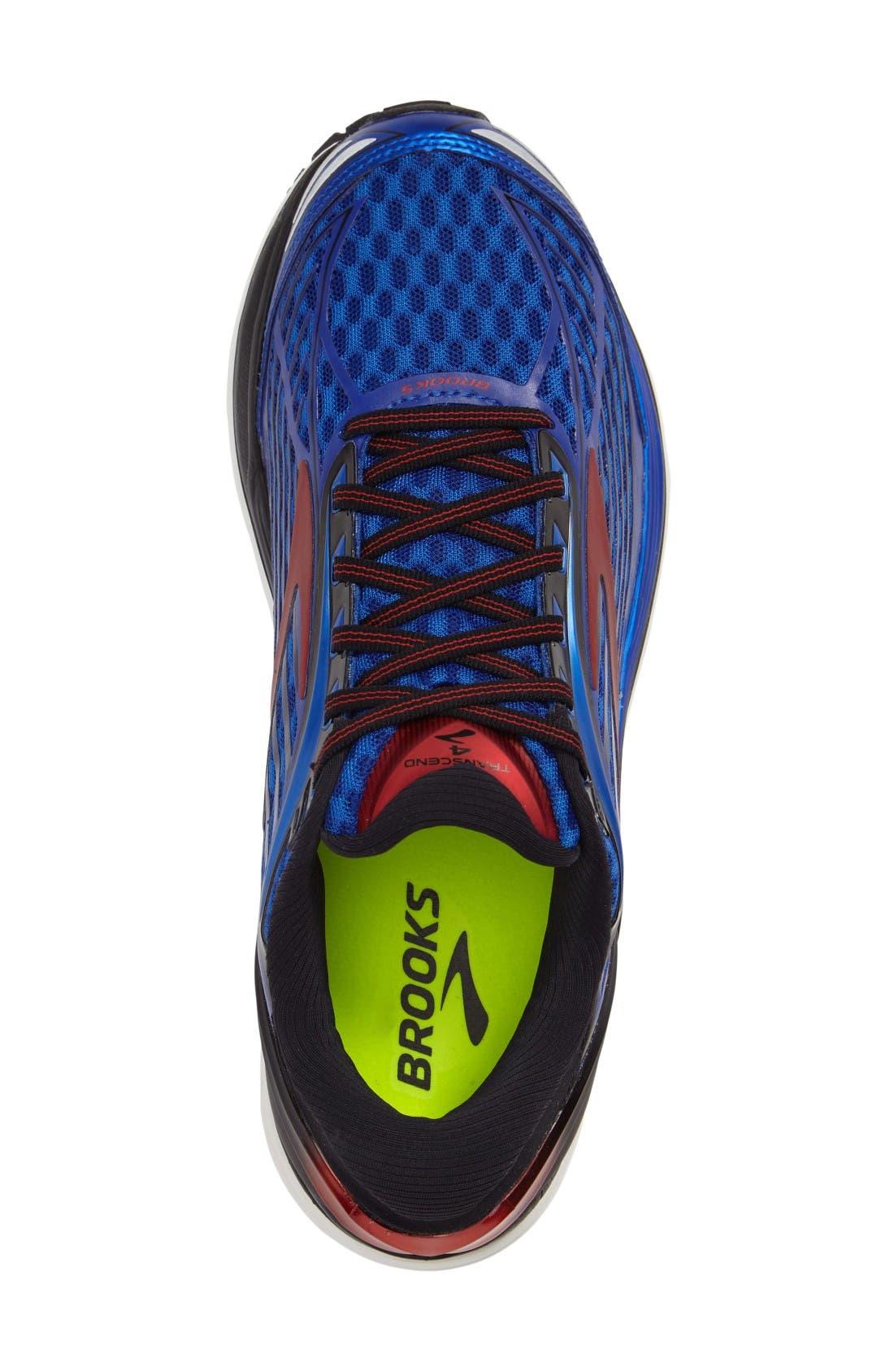 Transcend 4 Running Shoe,                             Alternate thumbnail 3, color,                             Blue/ Black/ Red