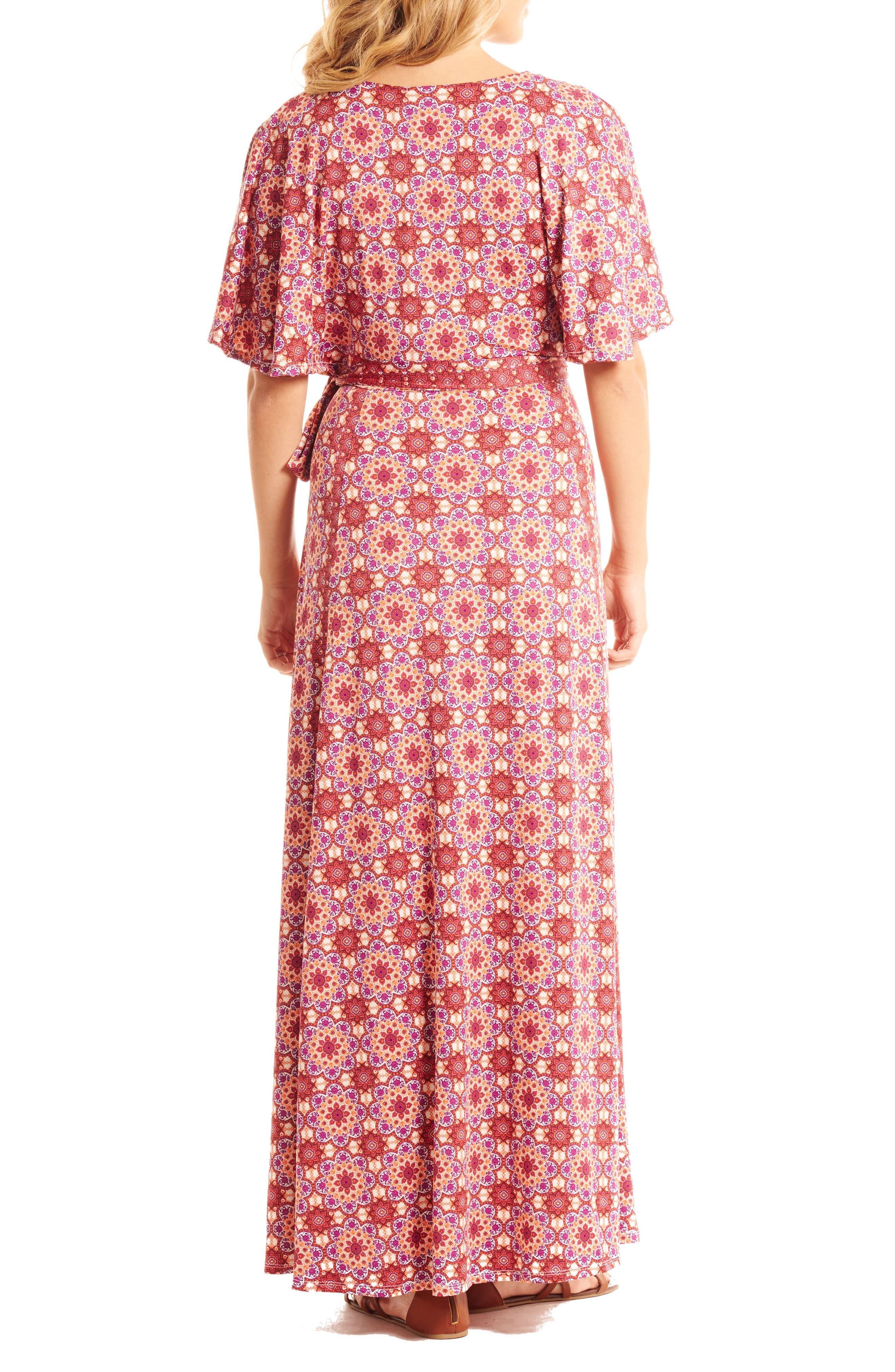 Asa Maternity/Nursing Maxi Wrap Dress,                             Alternate thumbnail 2, color,                             Sangria