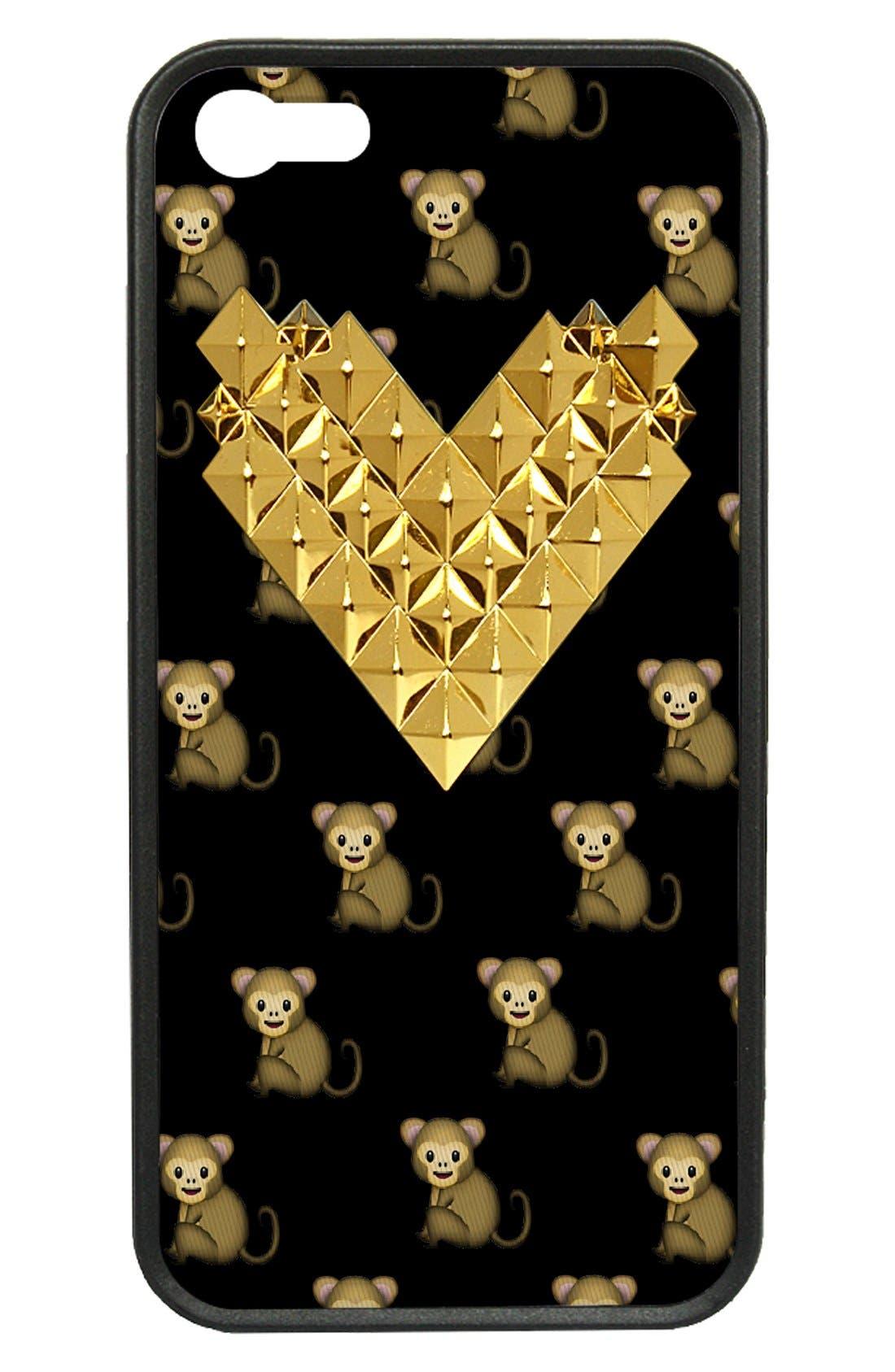 Alternate Image 1 Selected - wildflower 'Monkemoji Gold Studded Heart' iPhone 5 & 5s Case