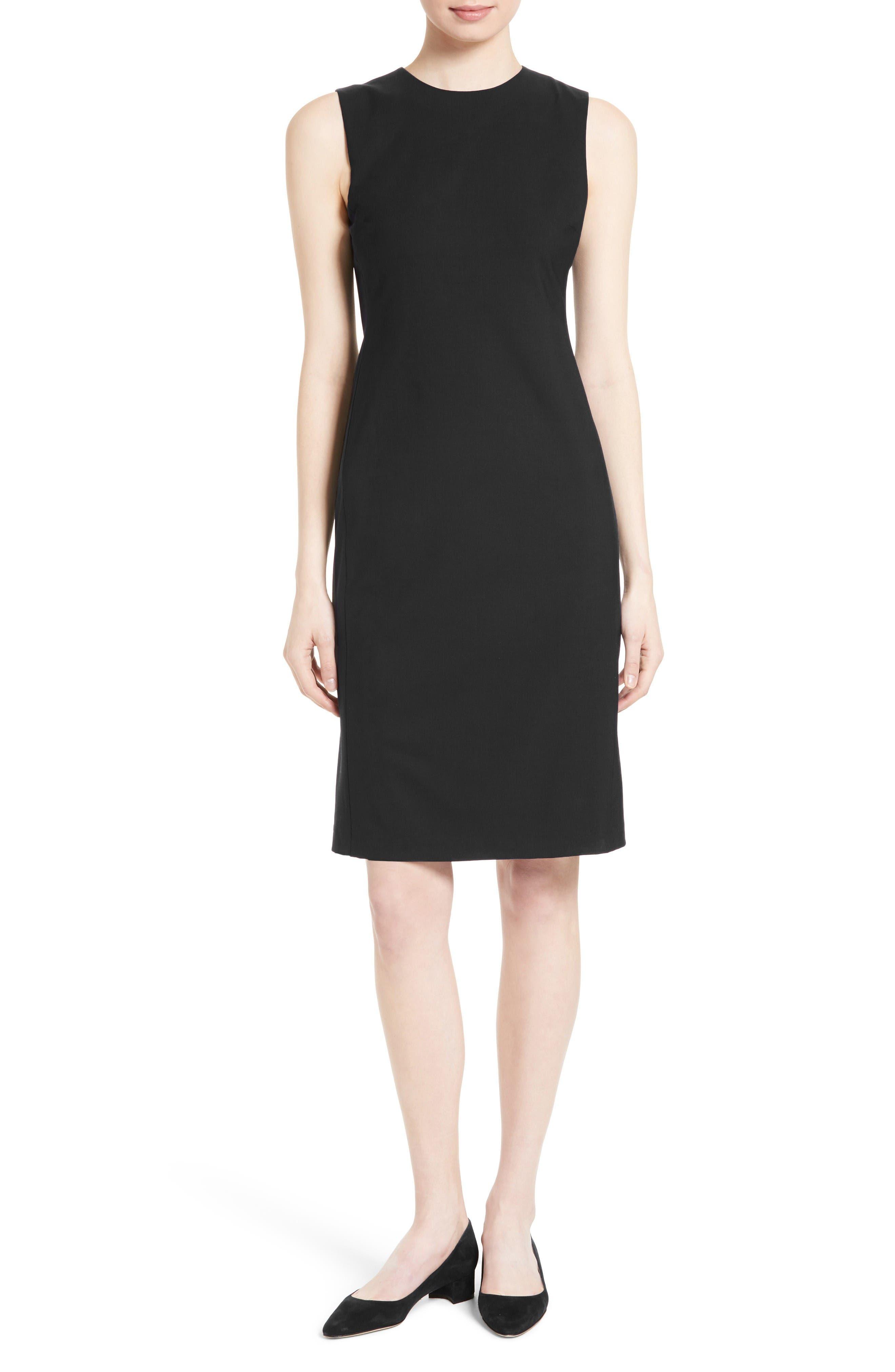 Theory Black Wool Short Sleeve Dress