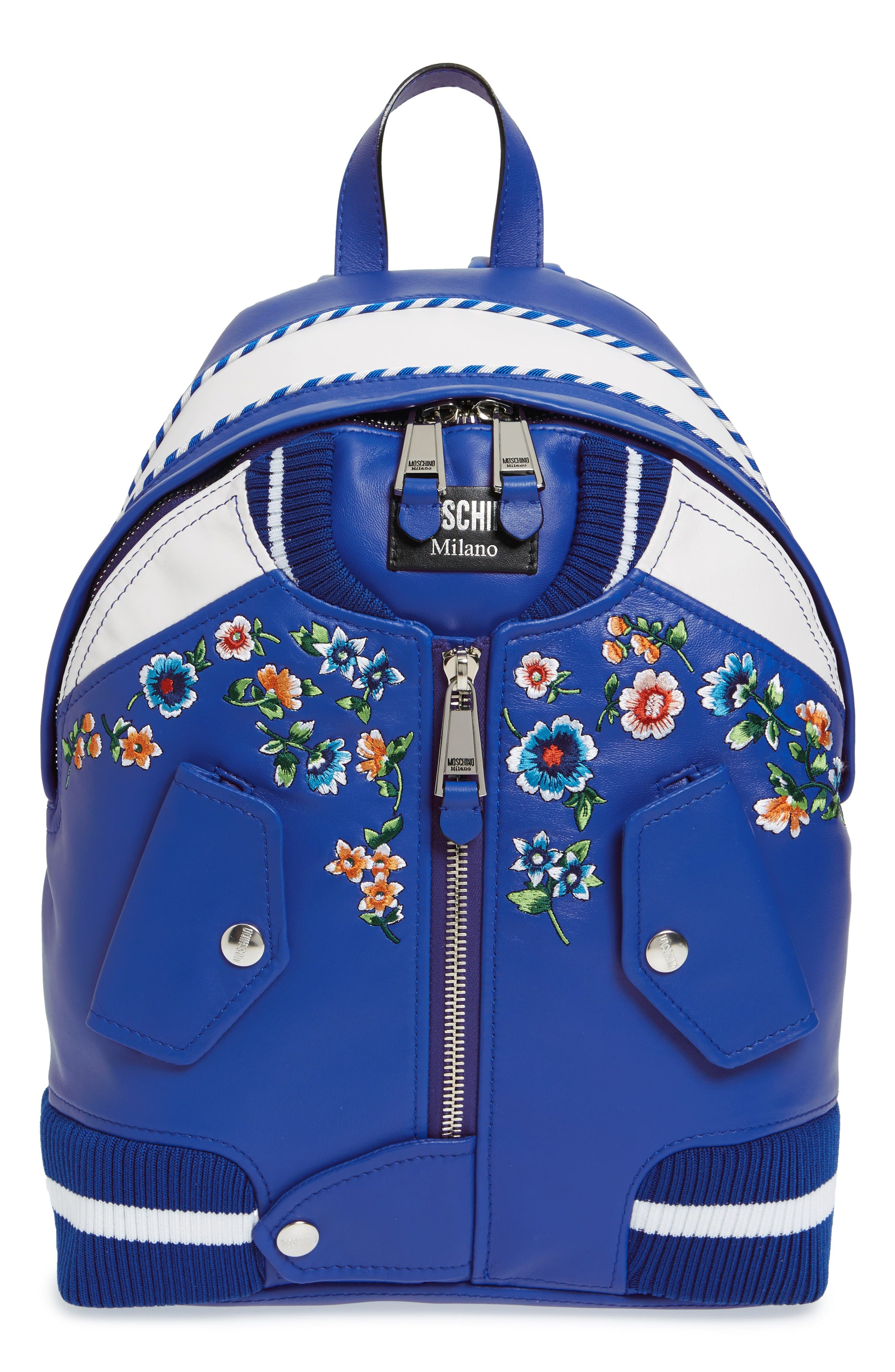 Alternate Image 1 Selected - Moschino Embroidered Floral Bomber Jacket Leather Backpack