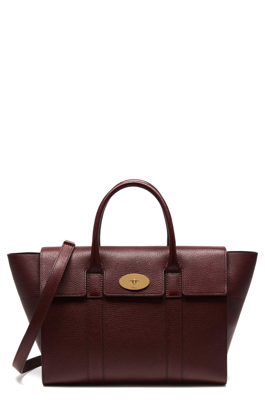 Bayswater Calfskin Leather Satchel,                             Main thumbnail 1, color,                             Oxblood