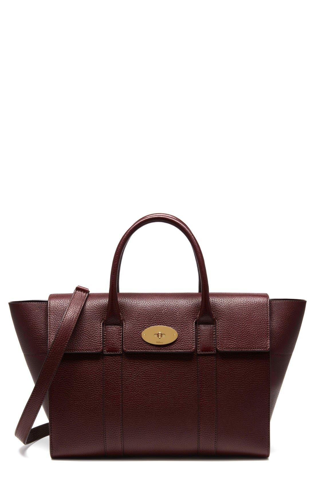 Bayswater Calfskin Leather Satchel,                         Main,                         color, Oxblood