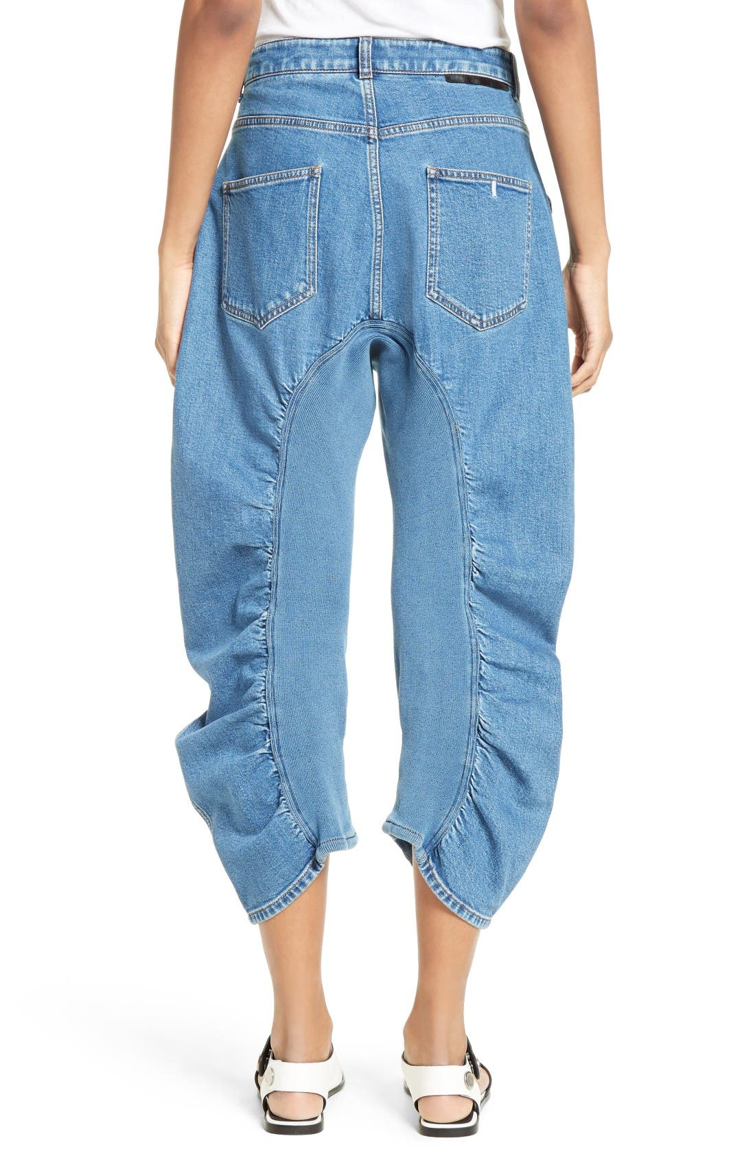 Xenia Ruched Crop Jeans,                             Alternate thumbnail 3, color,                             Blue