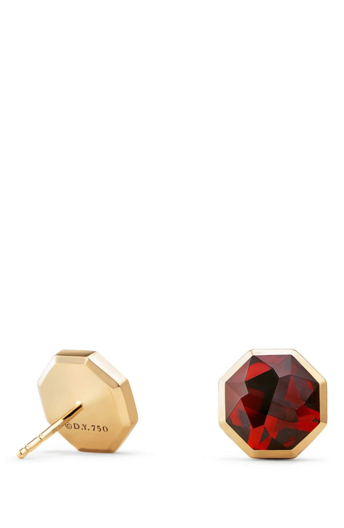 Guilin Octagon Earrings in 18K Gold,                             Alternate thumbnail 2, color,                             Yellow Gold/ Garnet