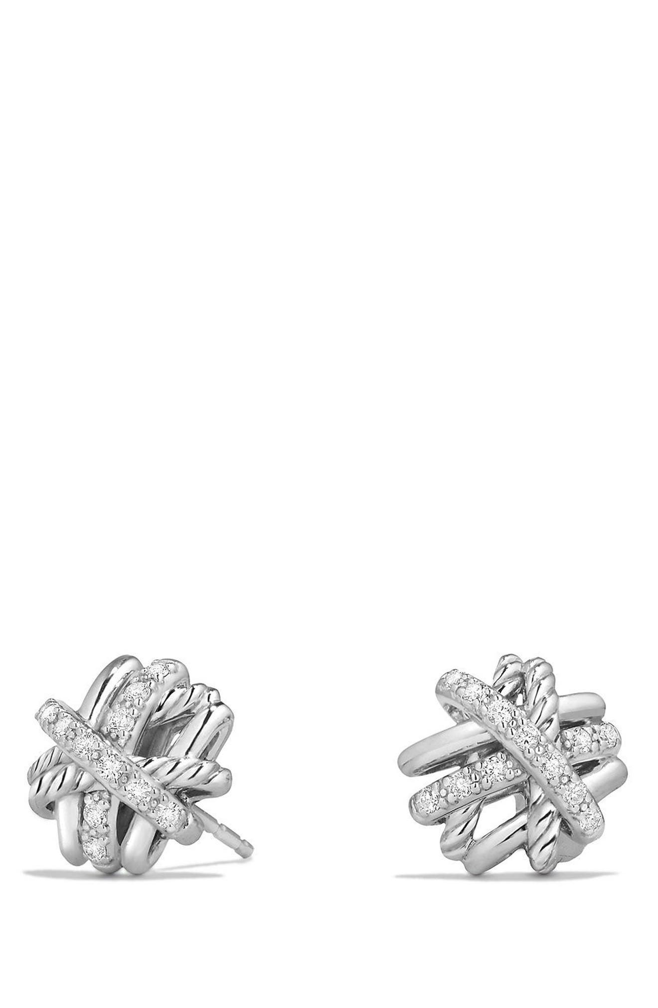 Crossover Stud Earrings with Diamonds,                             Main thumbnail 1, color,                             Silver/ Gold