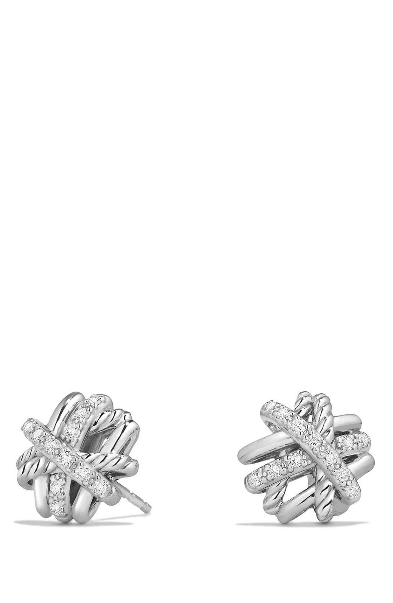 Alternate Image 1 Selected - David Yurman Crossover Stud Earrings with Diamonds