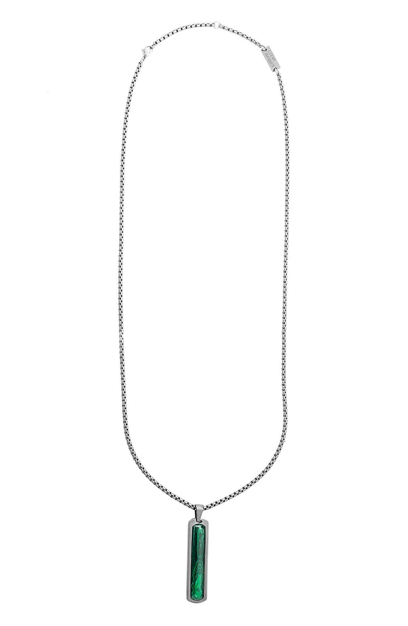 Steve Madden Oxidized Malachite Pendant Necklace