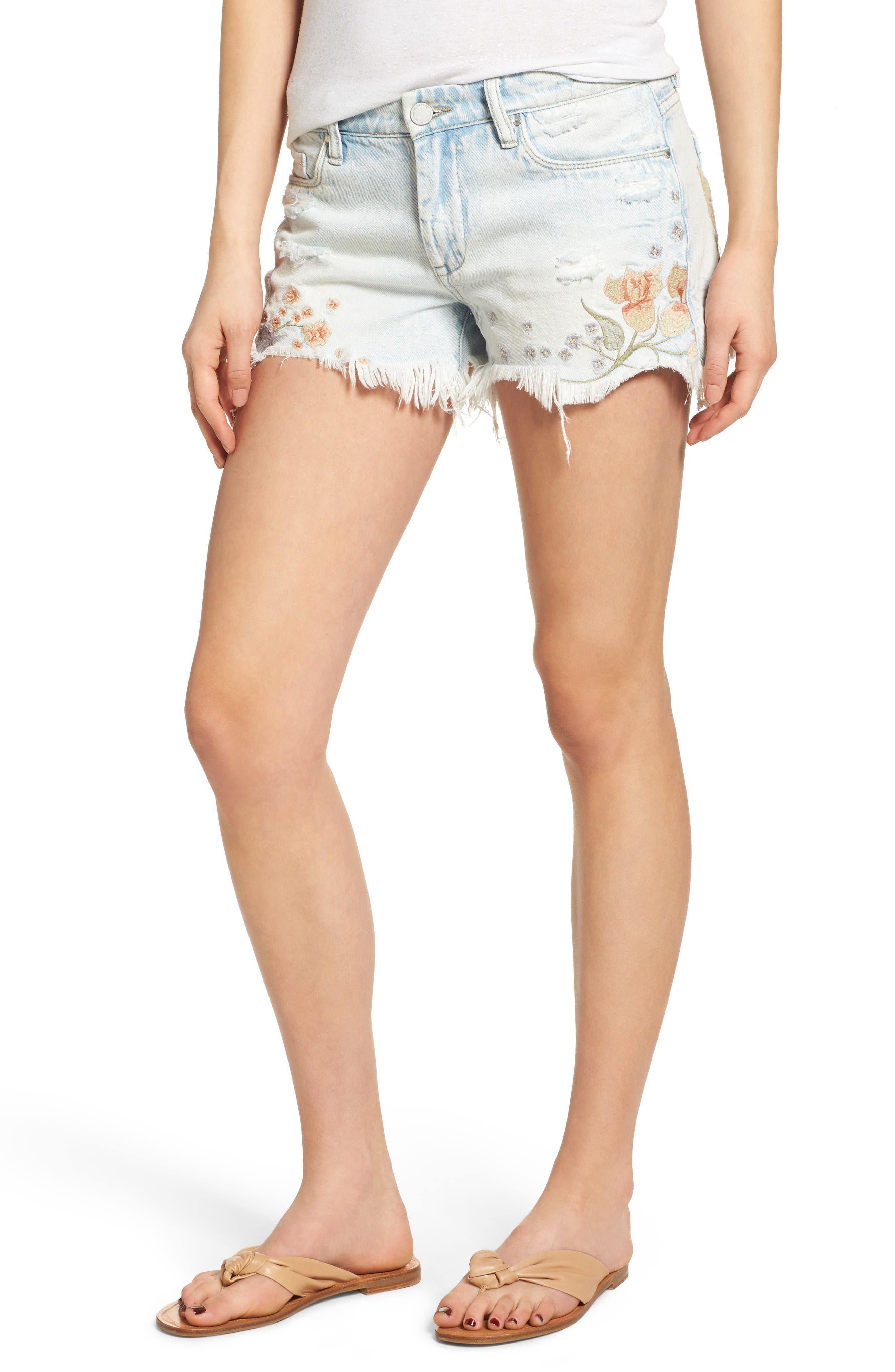 Blanknyc Embroidered Denim Shorts Sitting Pretty Nordstrom